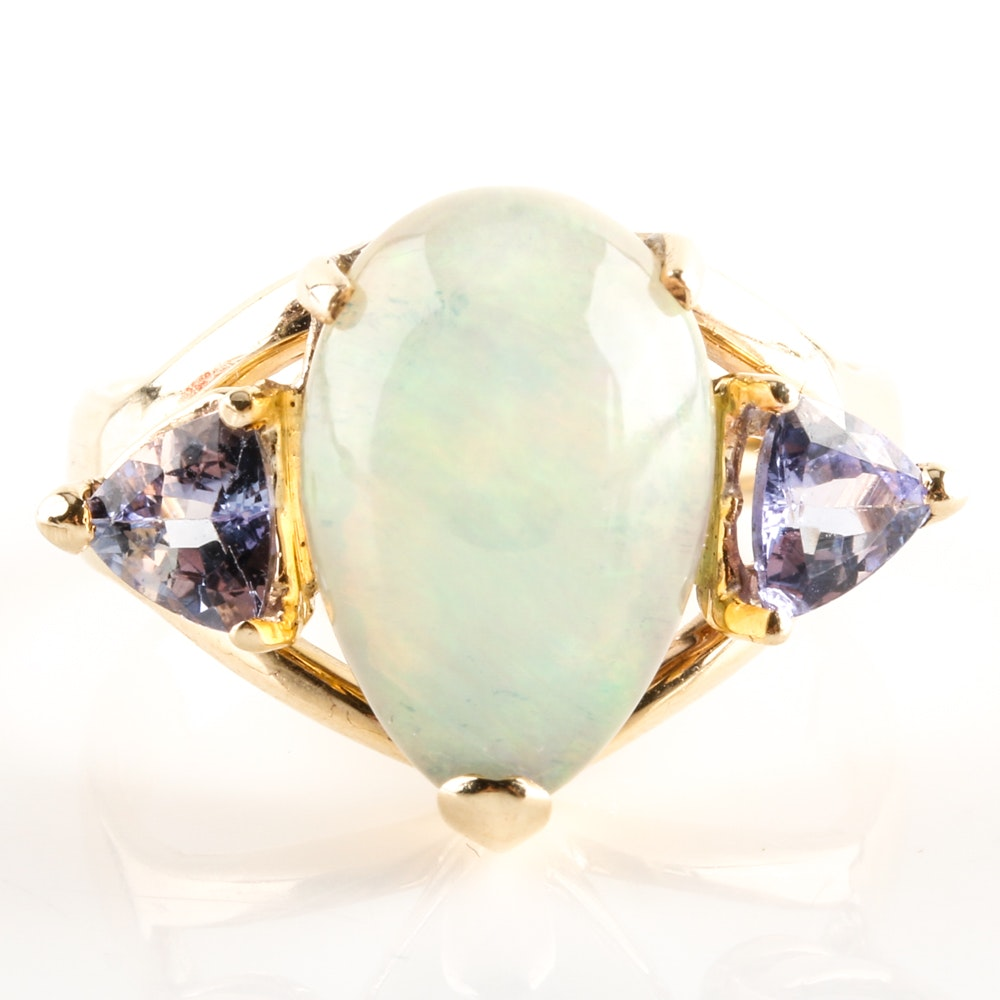14K Yellow Gold Jelly Opal and Tanzanite Ring