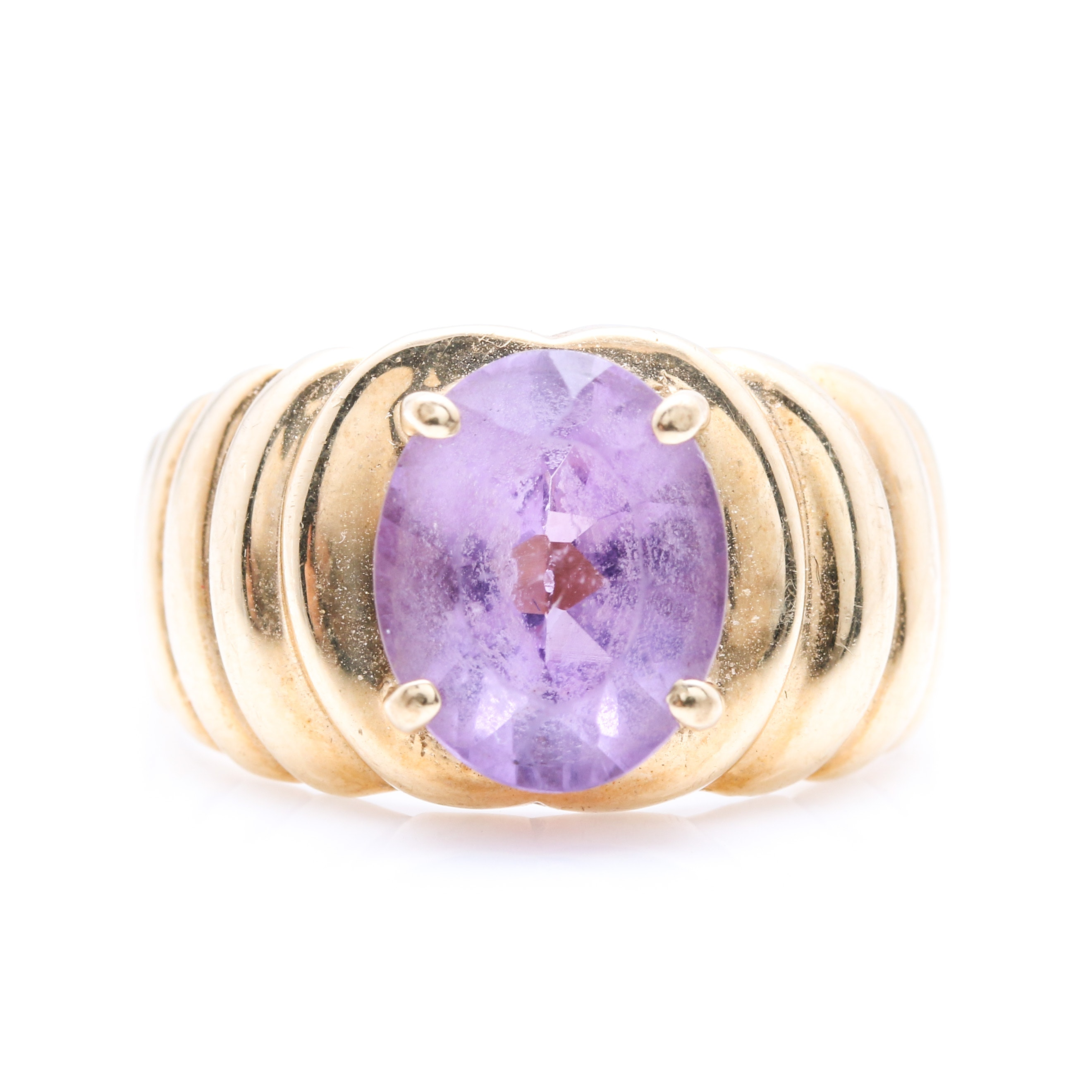 14K Yellow Gold 2.11 CTS Amethyst Ring