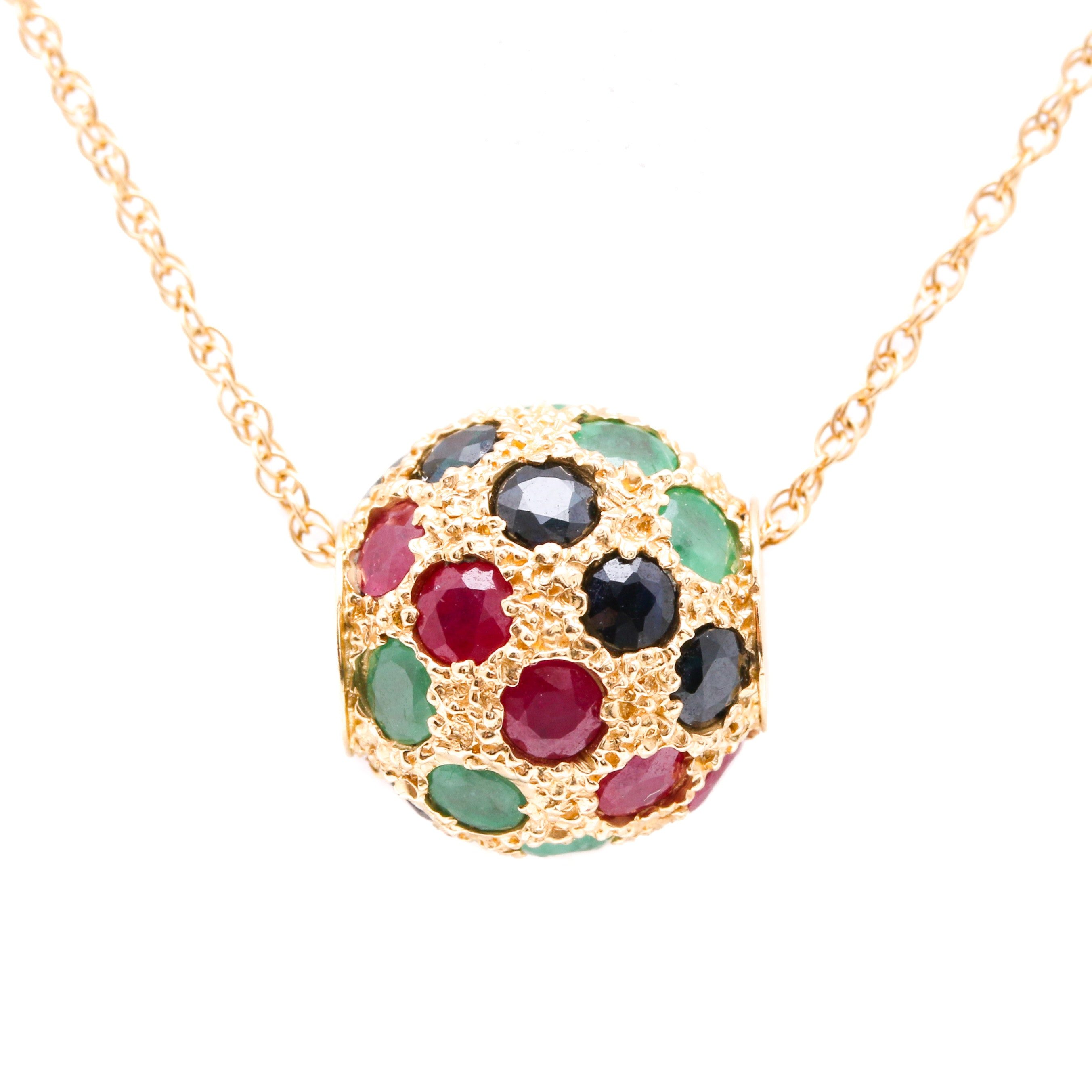 14K Yellow Gold Emerald, Ruby, and Sapphire Pendant and Neck Chain