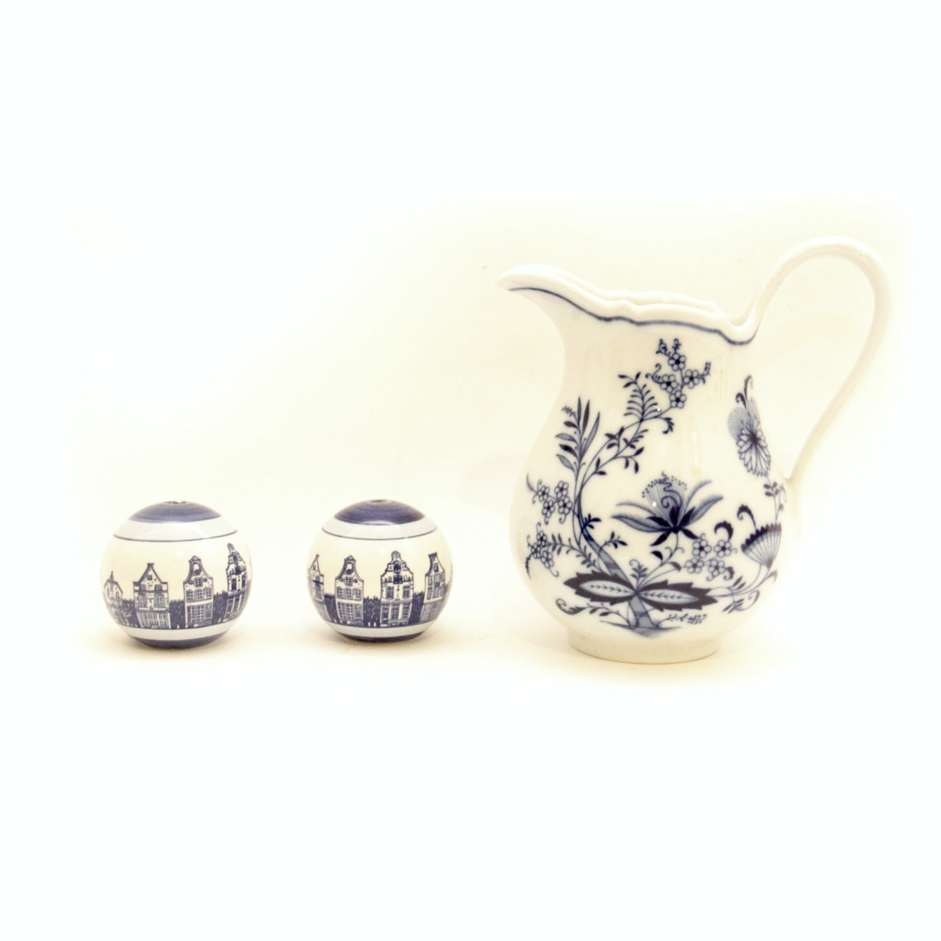 Delftware Salt and Pepper Shaker and Bavarian Porcelain Pitcher