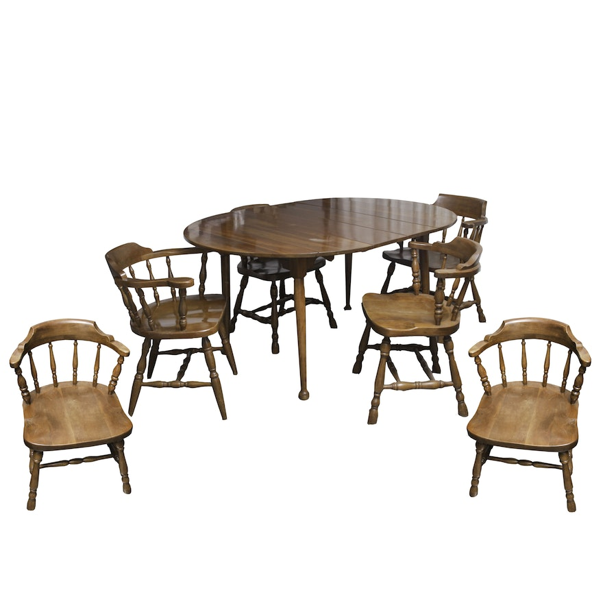 Terrific Vintage Colonial Style Dining Table And Chairs Download Free Architecture Designs Rallybritishbridgeorg