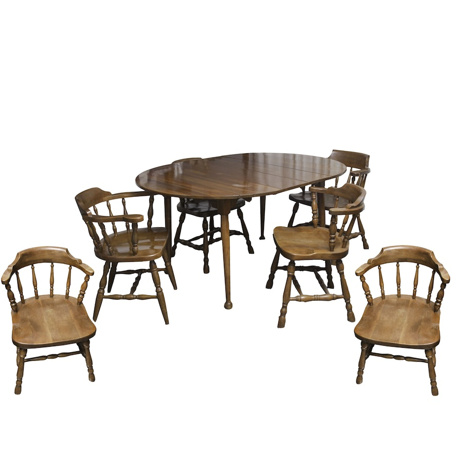 vintage colonial style dining table and chairs ebth. Black Bedroom Furniture Sets. Home Design Ideas