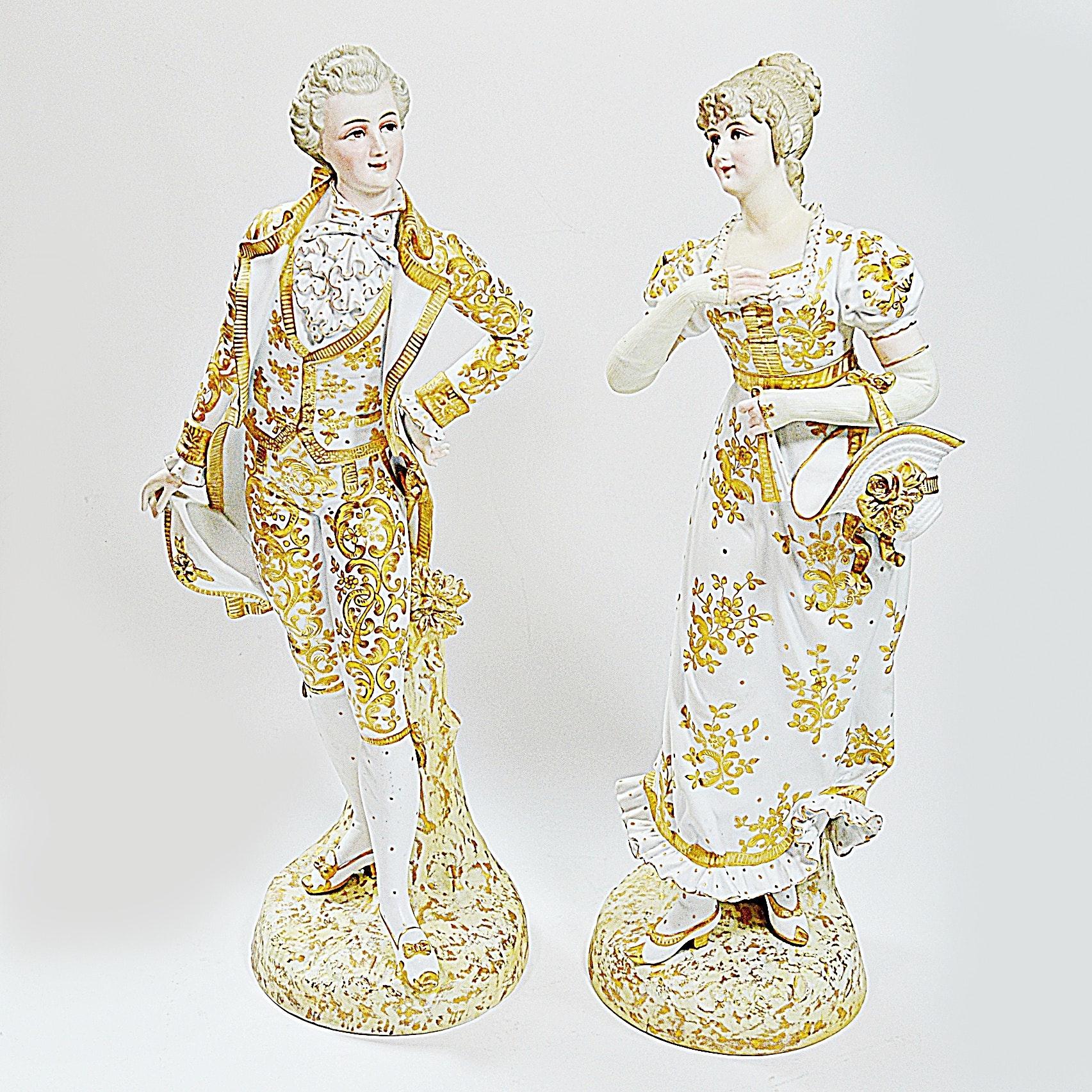Pair of Antique German Porcelain Figures
