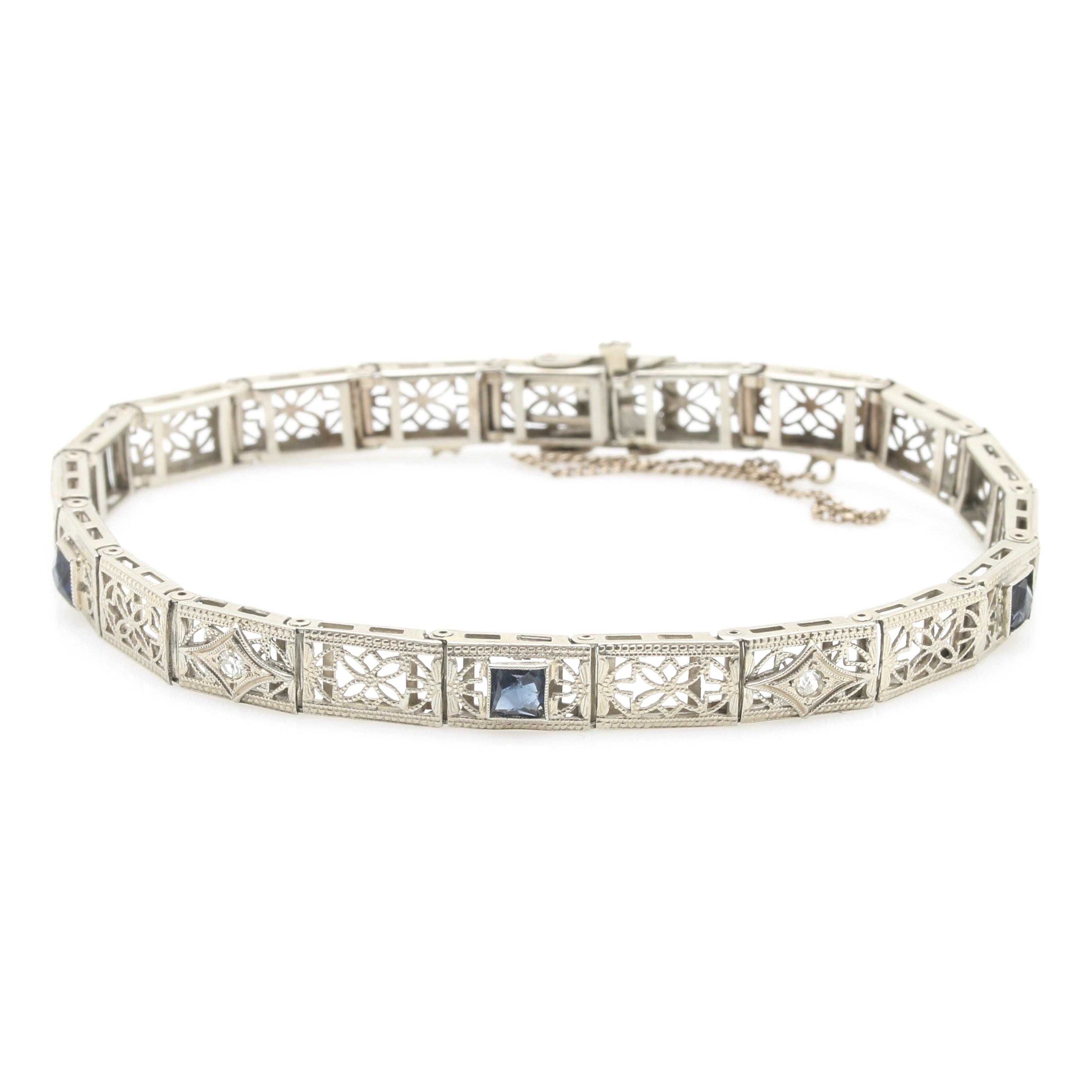 14K White Gold Diamond and Blue Glass Bracelet