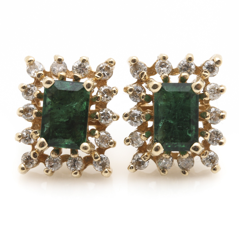 Effy 14K Yellow Gold Emerald and Diamond Earrings