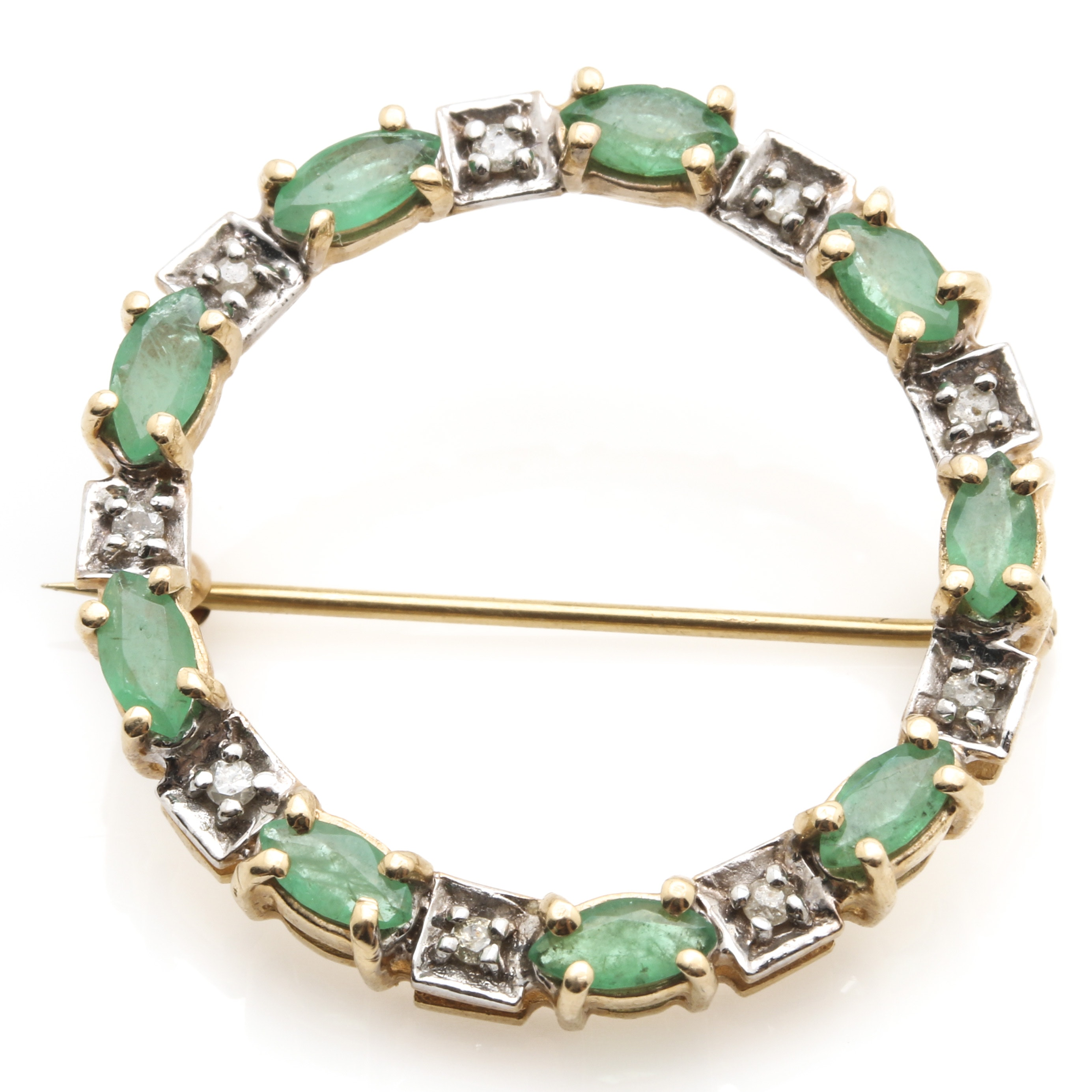 14K Yellow Gold 1.19 CTW Emerald and Diamond Wreath Brooch