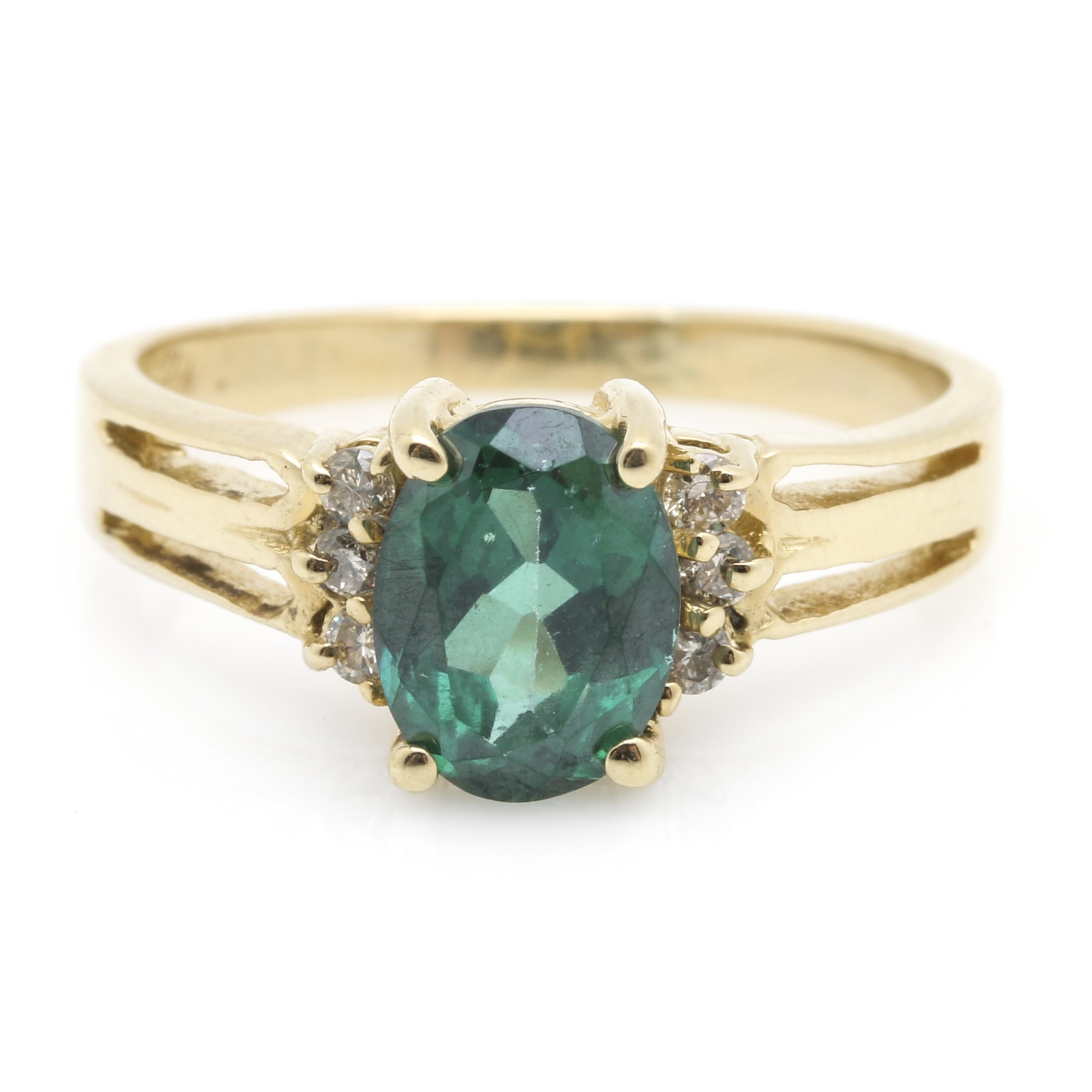 14K Yellow Gold Coated Topaz and Diamond Ring