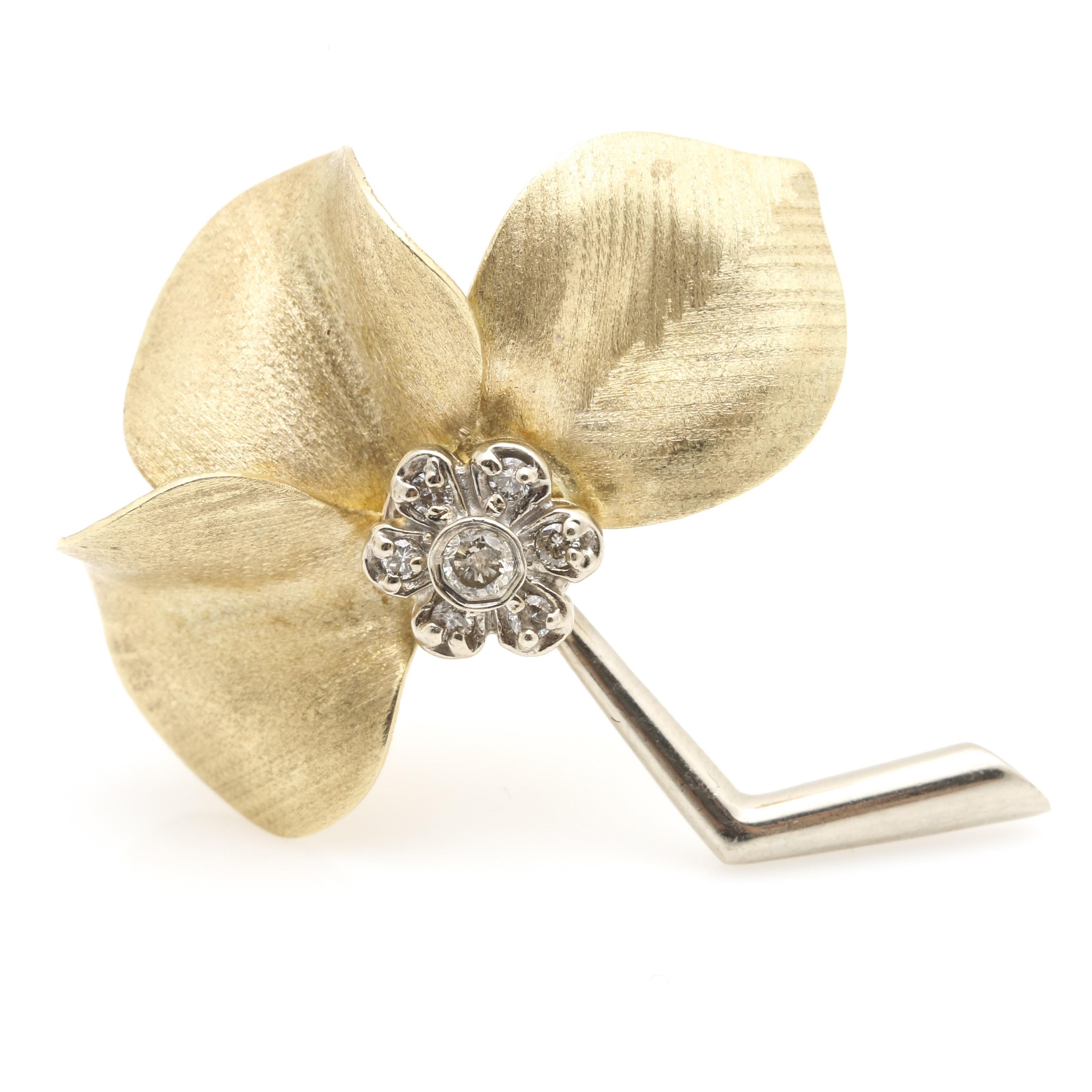 14K Yellow Gold Diamond Flower Brooch