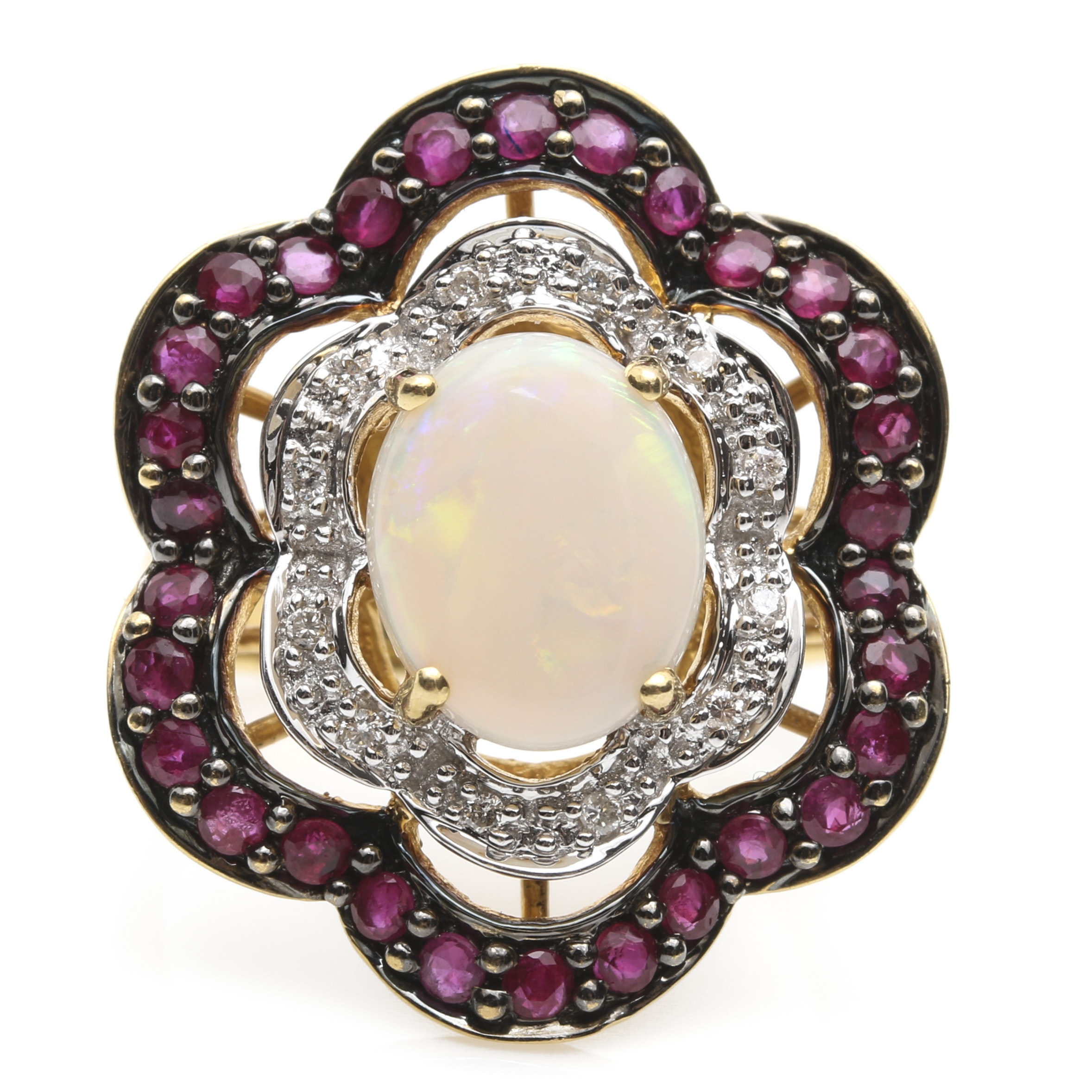 18K Yellow Gold Opal, Ruby, and Diamond Ring