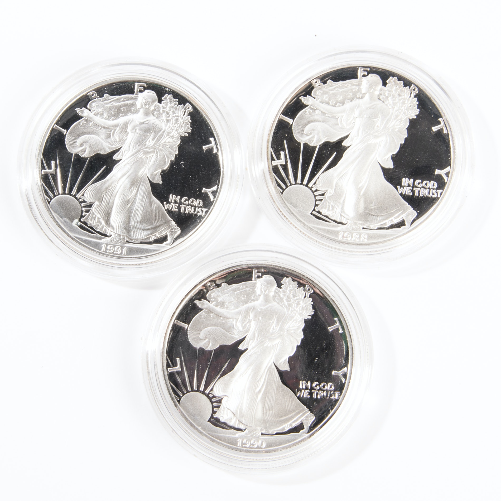 1988, 1990 and 1991 United States Silver Eagle Dollars