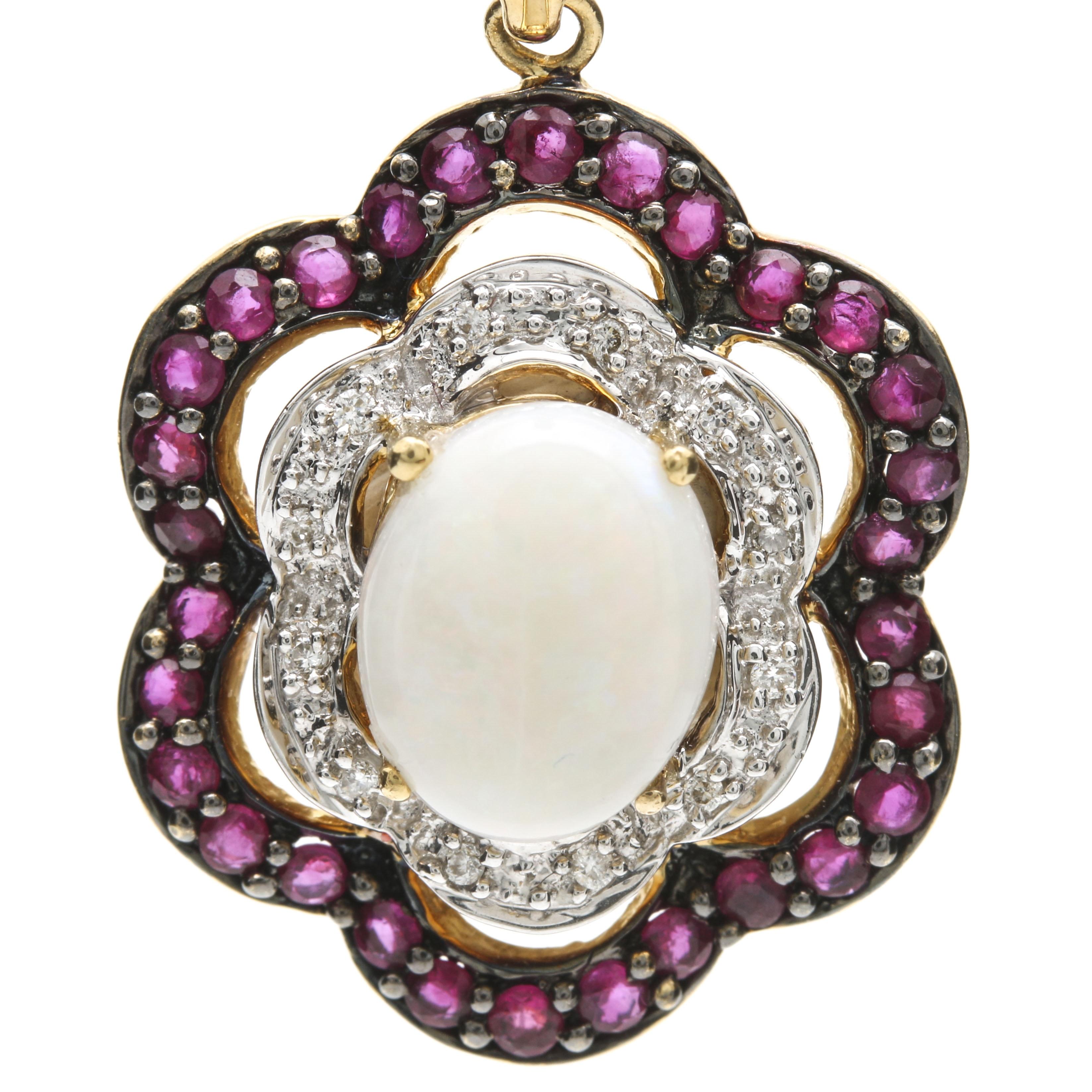 18K Yellow Gold Opal, Ruby, and Diamond Pendant