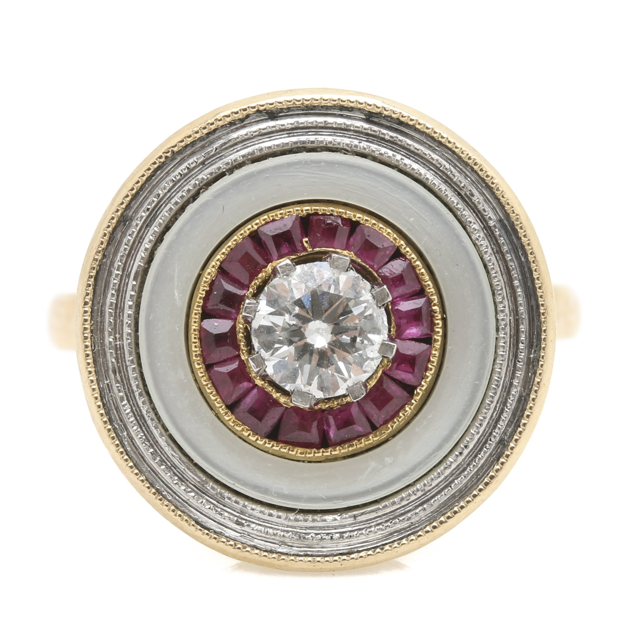 18K Two-Tone Gold Diamond, Ruby, and Mother of Pearl Ring