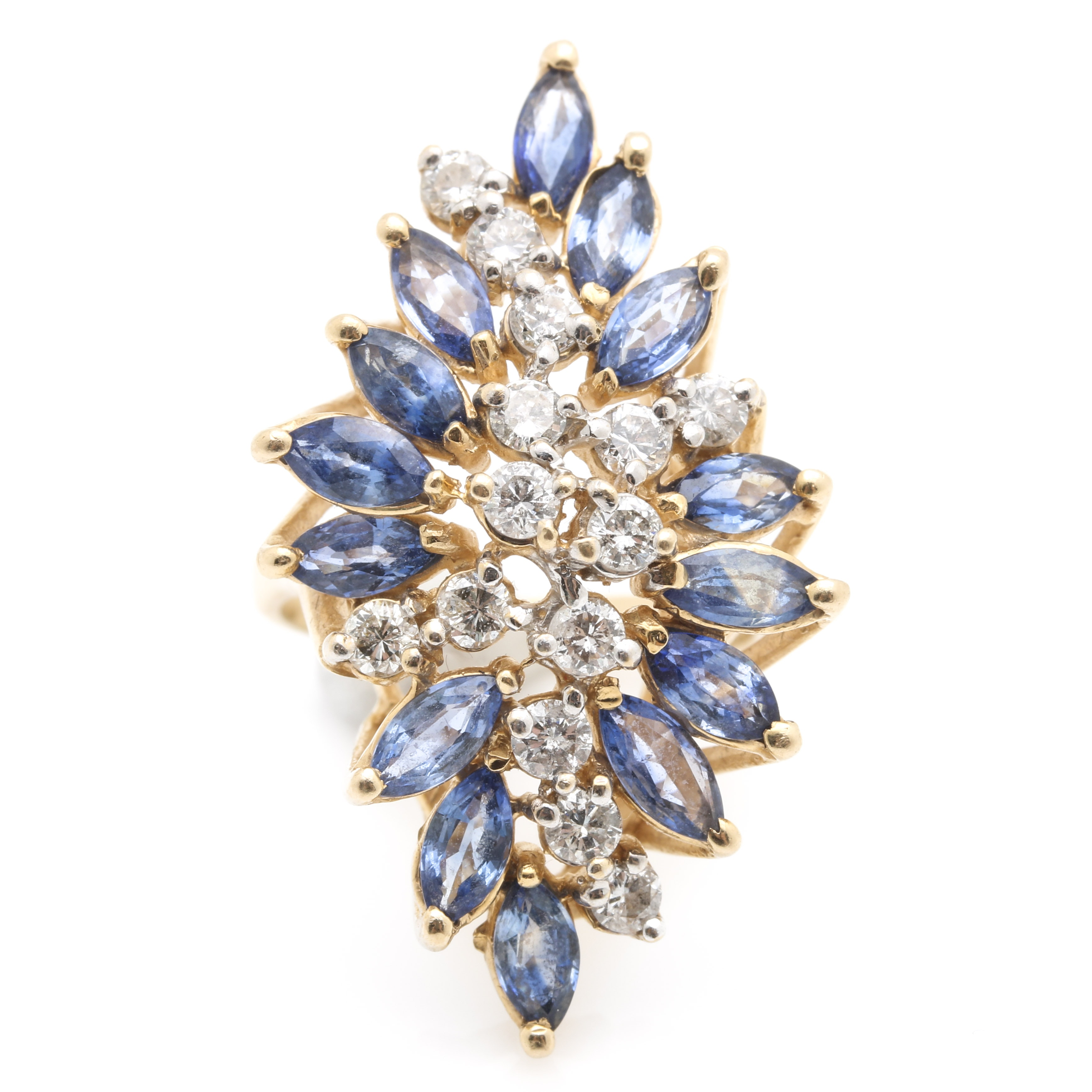 14K Yellow Gold 3.96 CTW Sapphire and 0.98 CTW Diamond Cocktail Ring