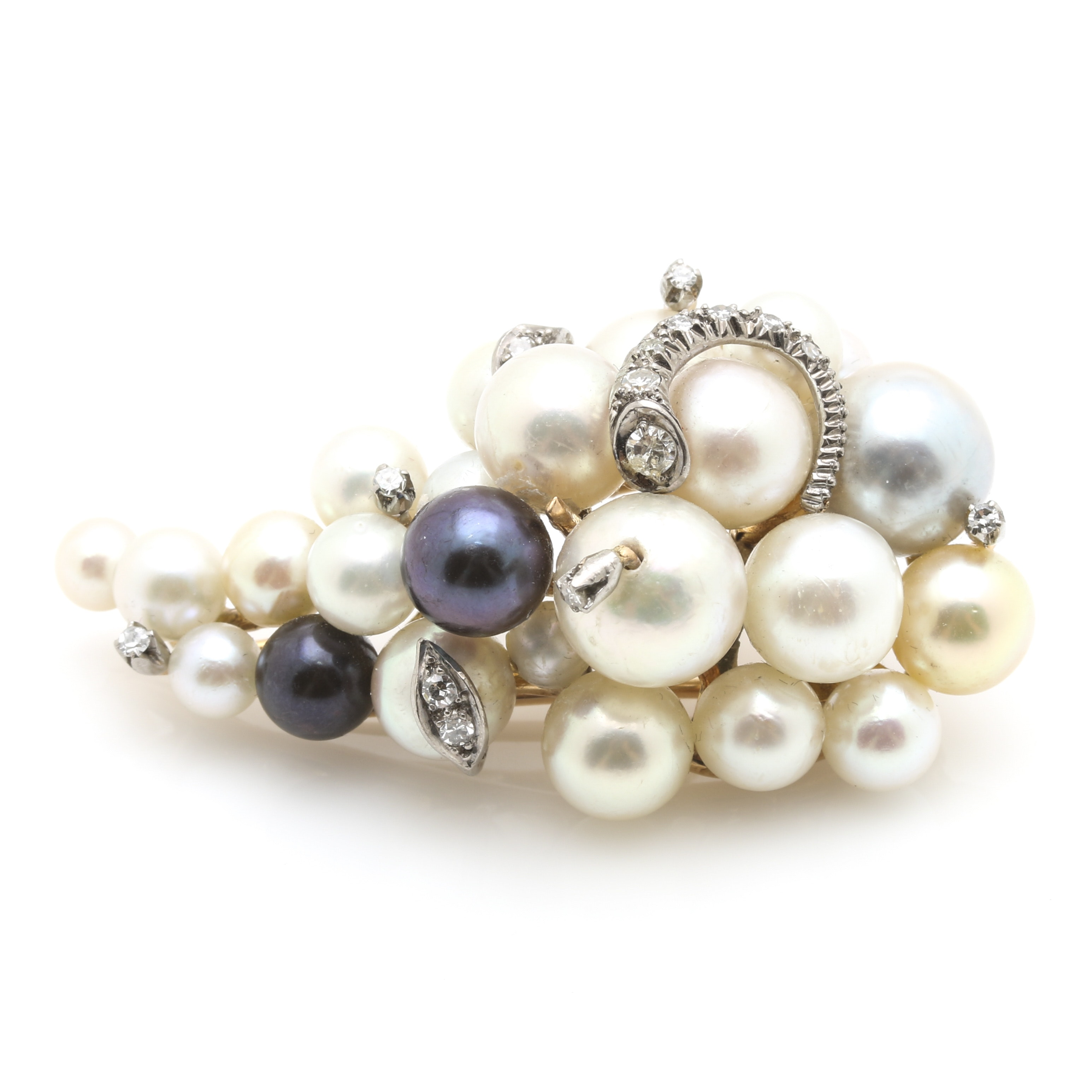 18K Yellow Gold Pearl and Diamond Grape Cluster Brooch