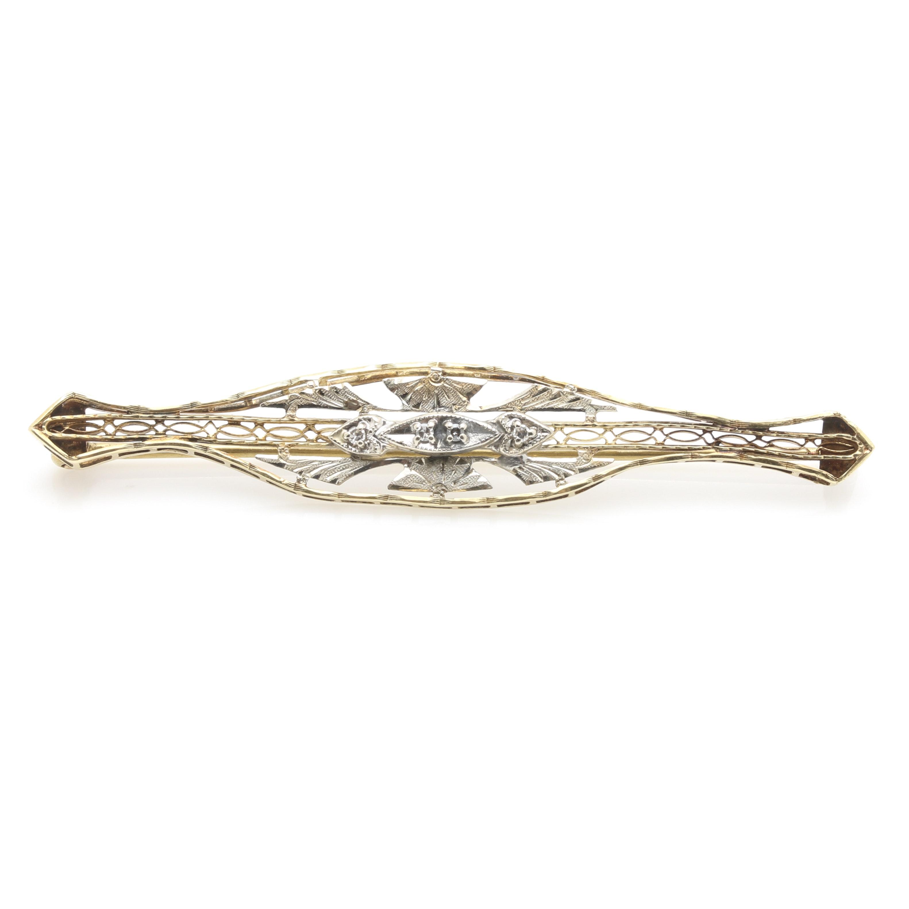 14K Two Tone Gold Diamond Brooch