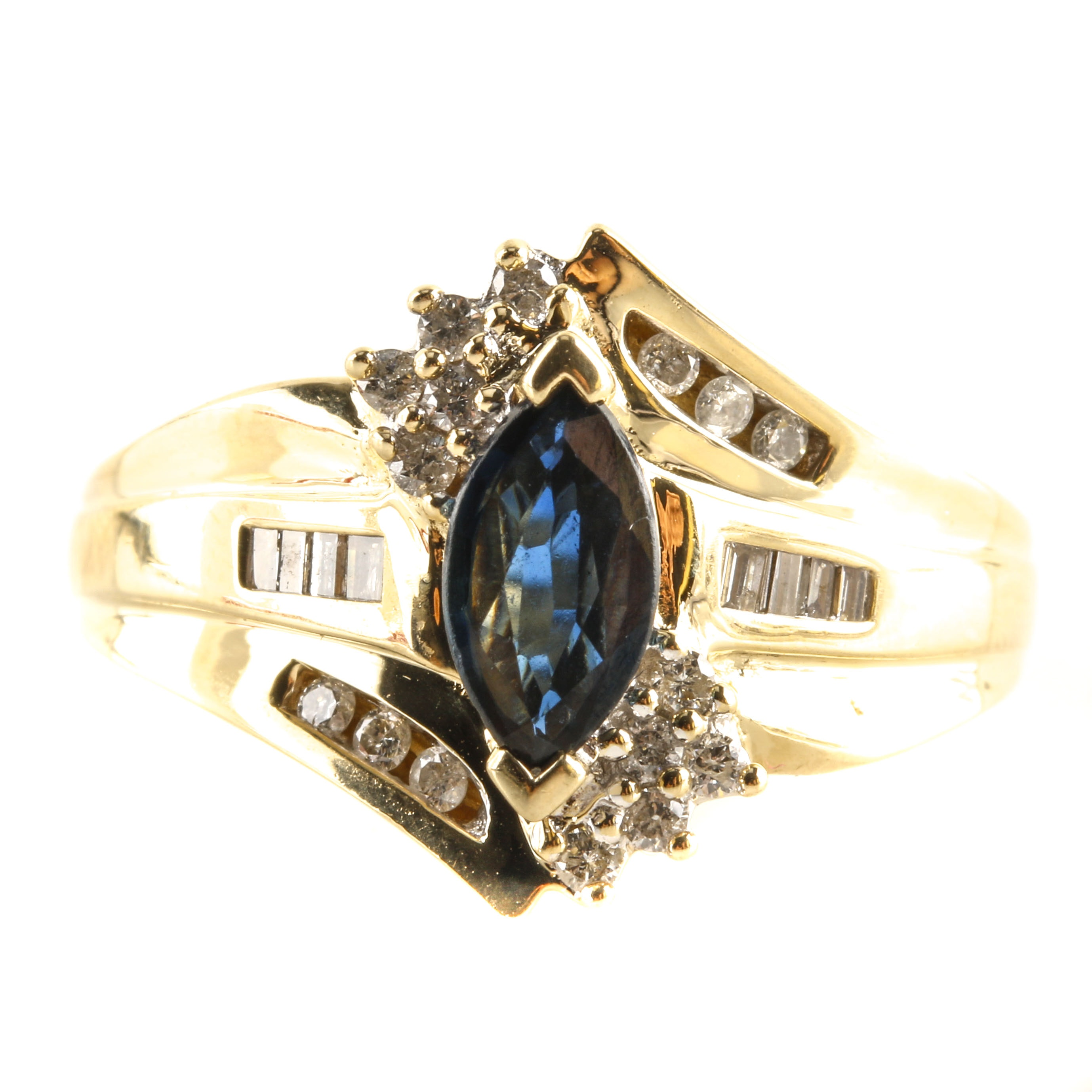 "Samuel Arron 14K Yellow Gold Sapphire and Diamond ""Keepsake"" Ring"