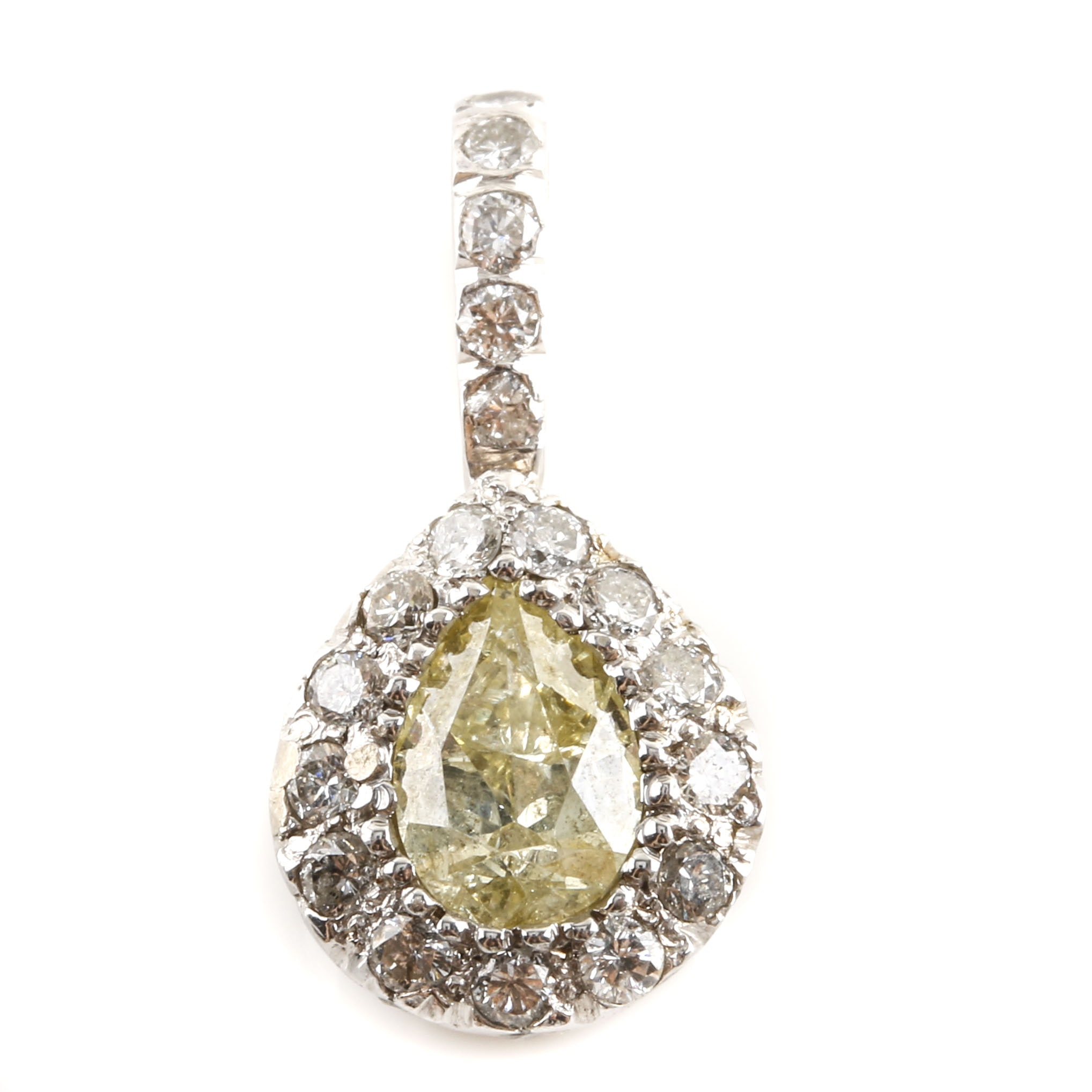 14K White Gold Diamond Pendant with Light Yellow Diamond