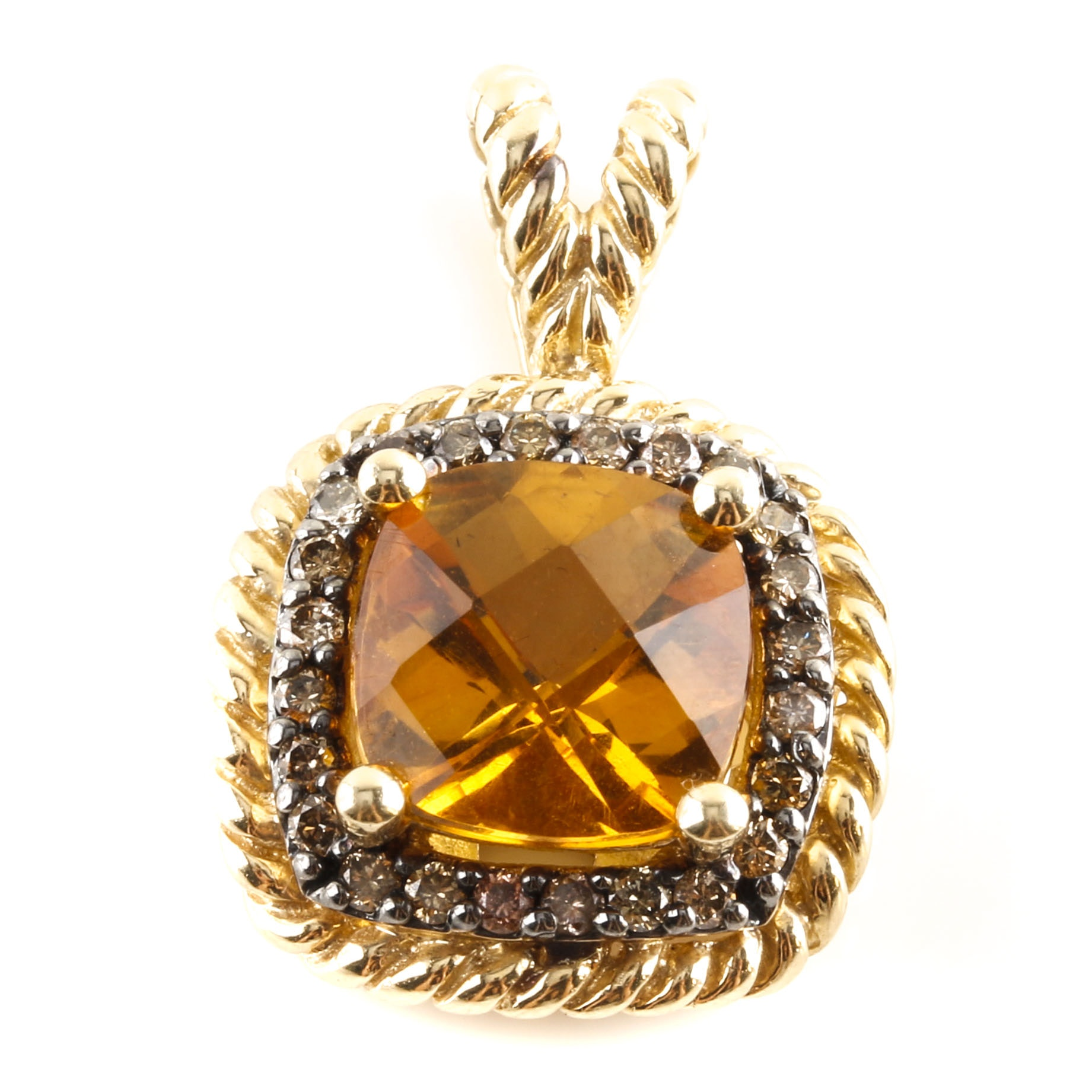 14K Yellow Gold Citrine and Diamond Pendant