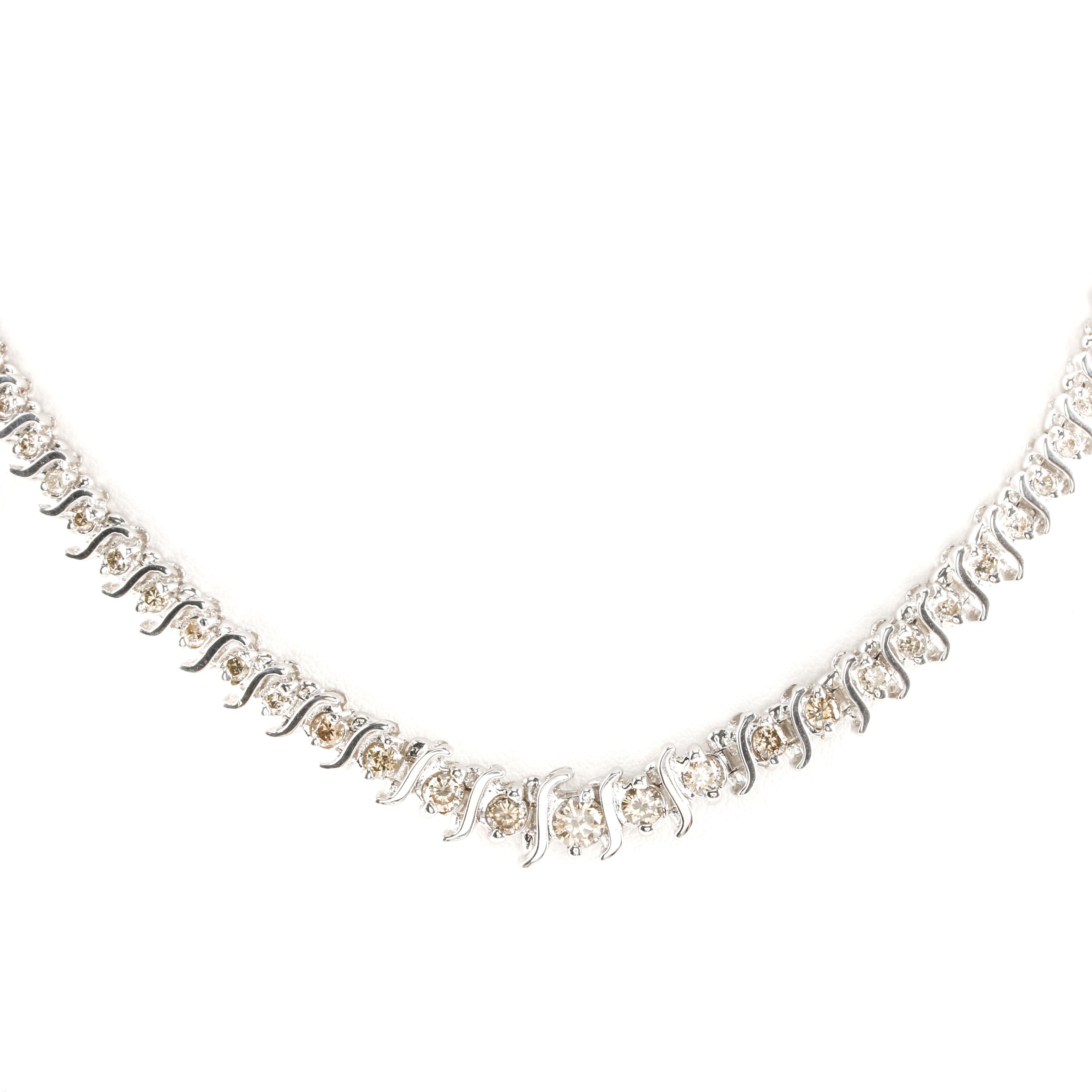 14K White Gold 4.03 CTW Diamond Necklace