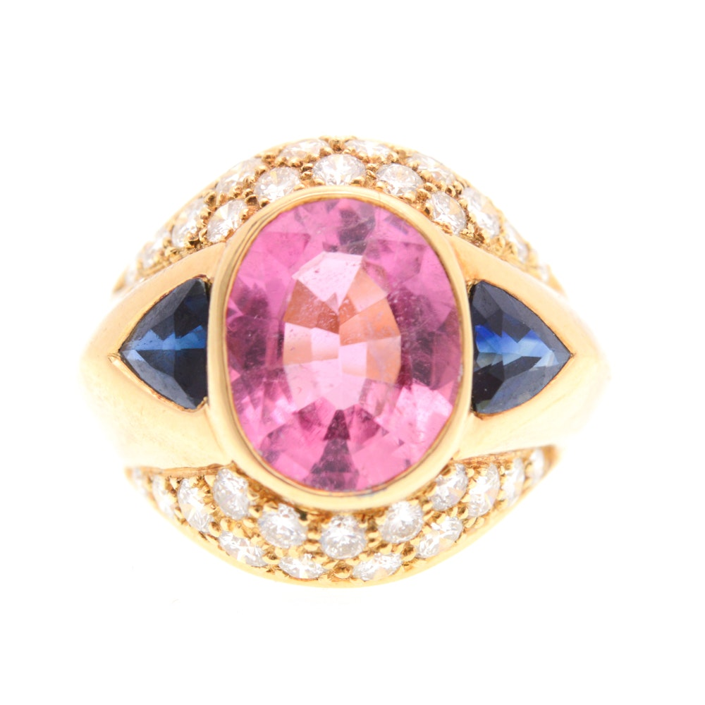 18K Yellow Gold Natural 3.70 CTS Pink Tourmaline Sapphire 1.00 CTW Diamond Ring