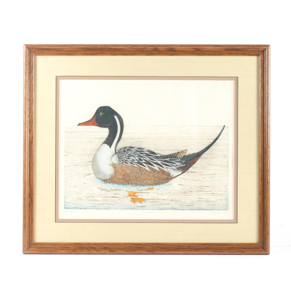 "Dan Mitra Artist's Proof Hand-Colored Etching ""Mallard Duck"""