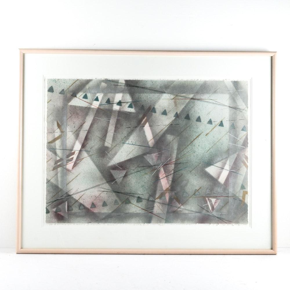 Large Scale C. Ruane Mixed Media on Handmade Paper