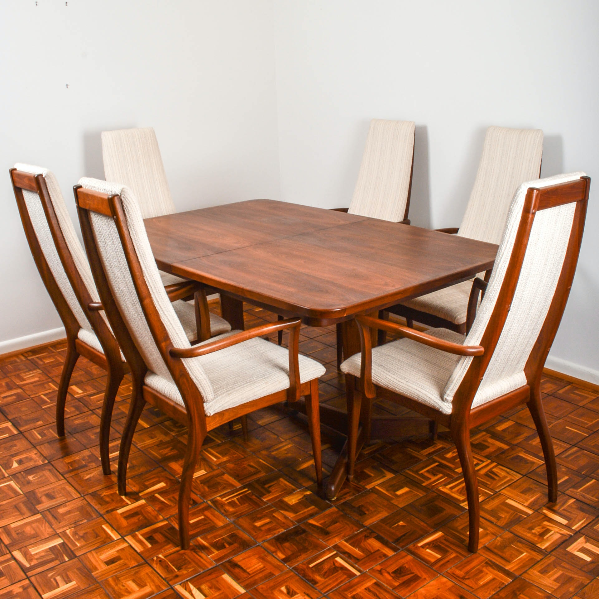 Otmar Handcrafted Danish Modern Dining Table and Six Chairs