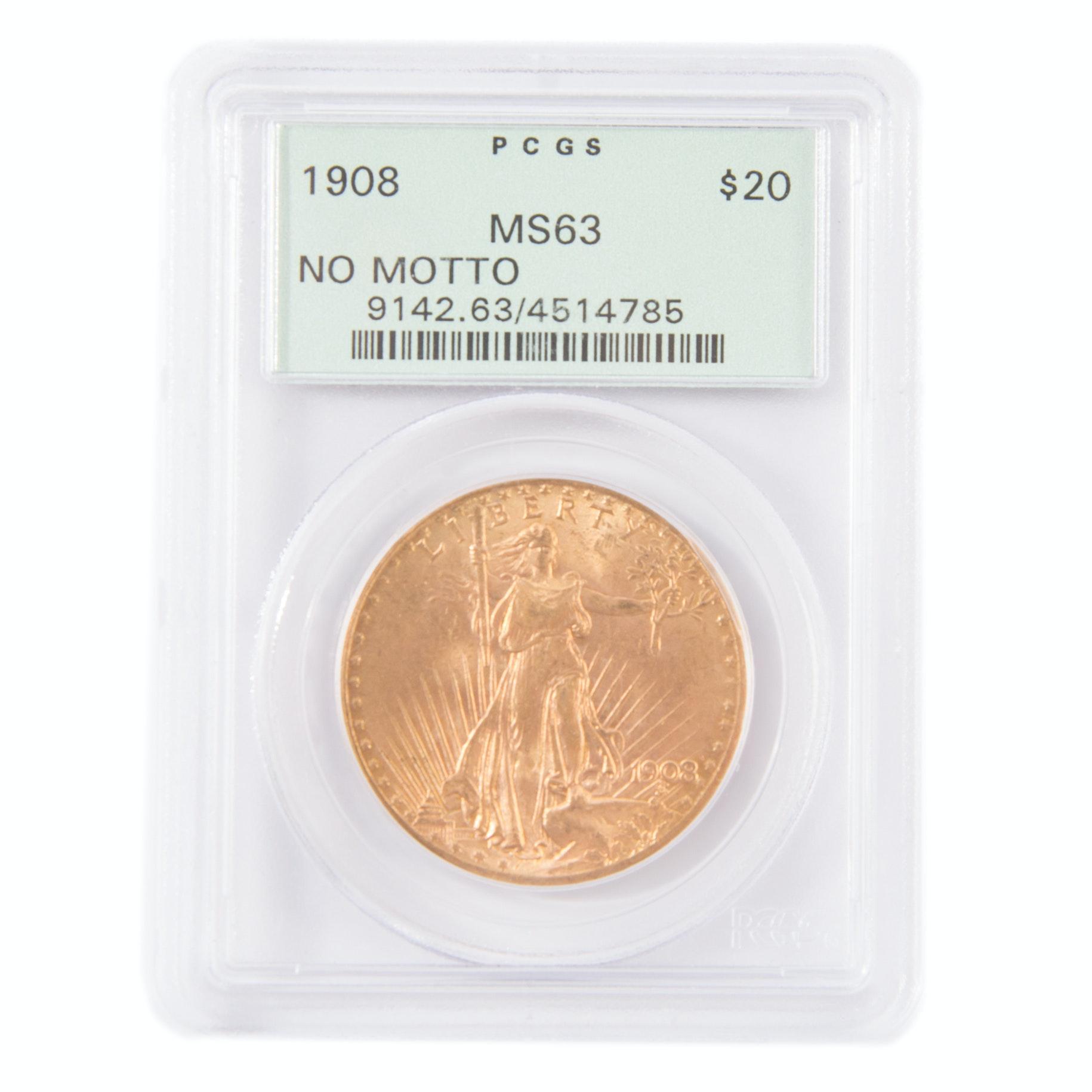 1908 Saint Gaudens Gold Twenty Dollar Coin Graded MS63 by PCGS