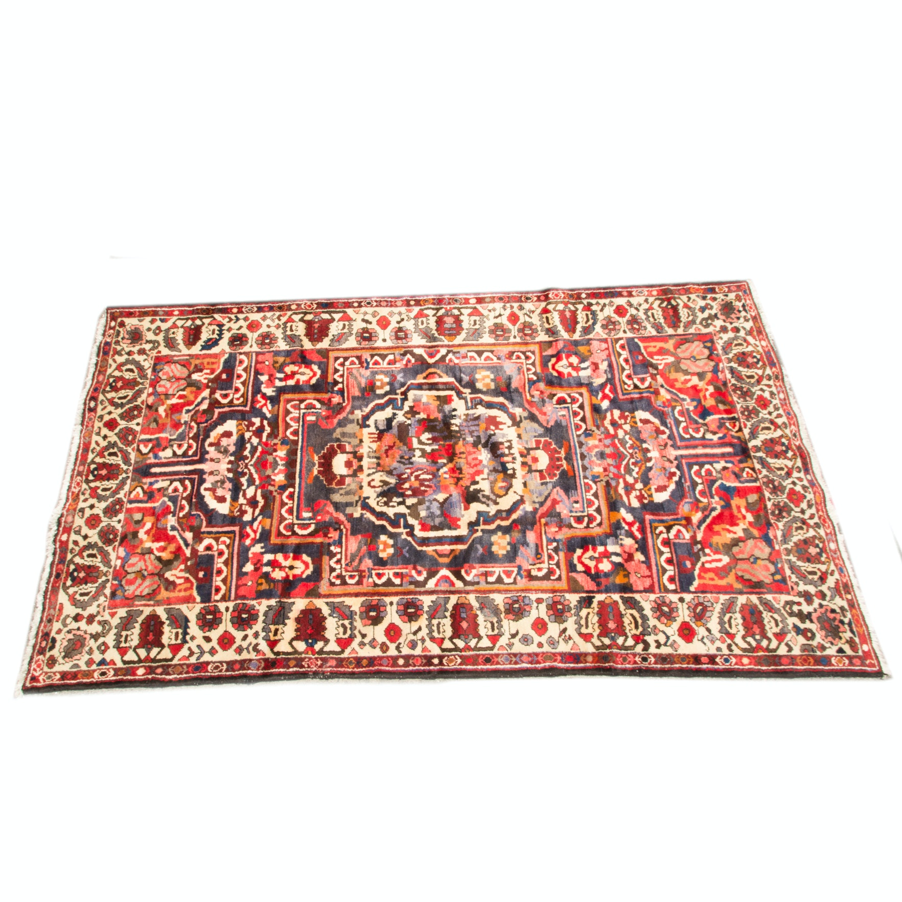 Hand-Knotted Bakhtiari Wool and Cotton Area Rug