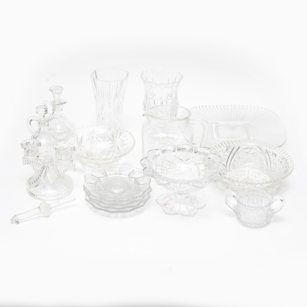 Crystal Glassware Assortment Including Heisy