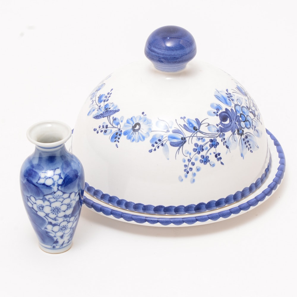 Gmundner Keramik Cheese Keeper and Mini Vase