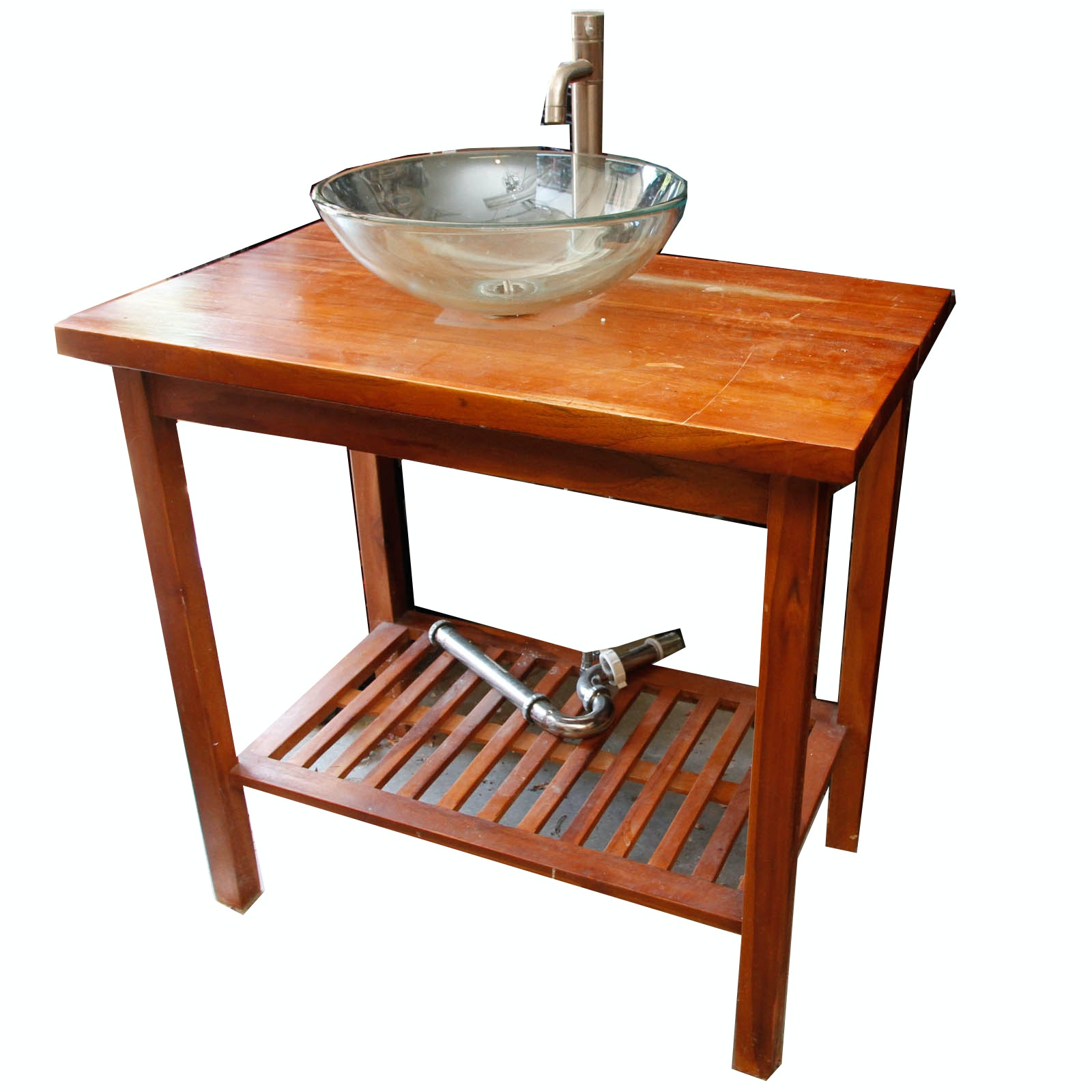 Beautiful Teak Bathroom Vanity With Glass Vessel Sink
