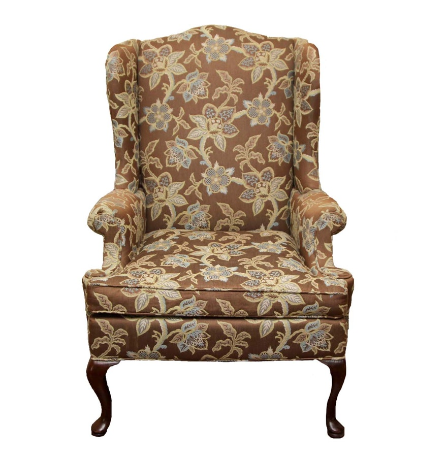 Hickory Chair Hickory Chair Co Brown Floral Wing Back Chair Ebth