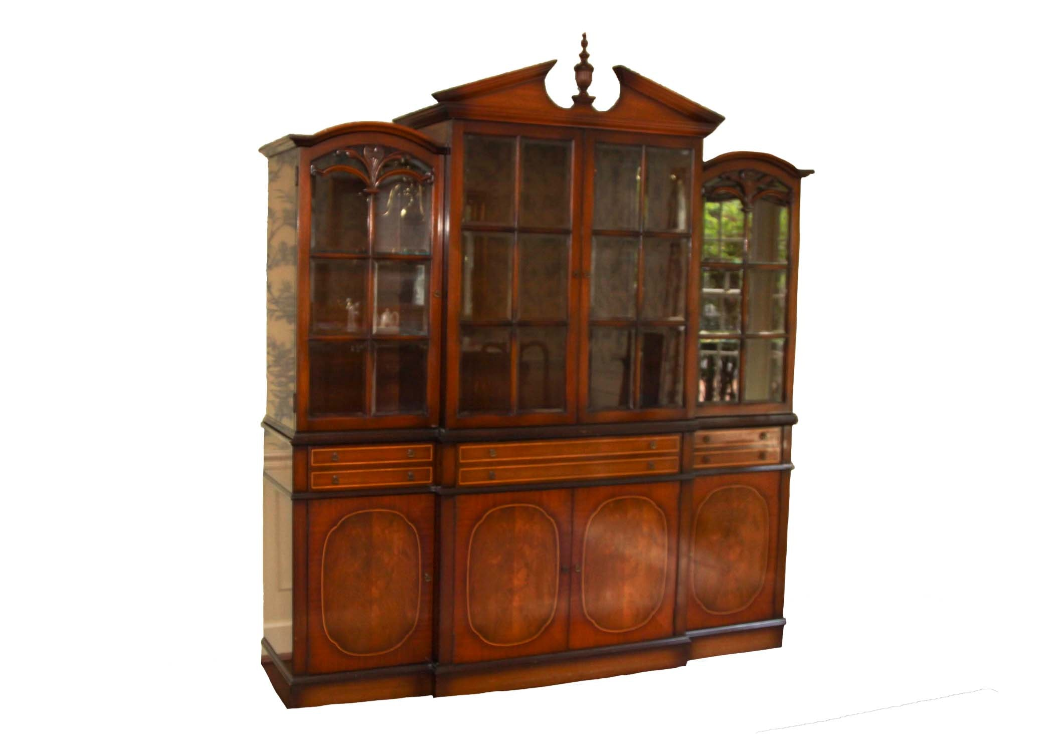 Vintage Federal Style Mahogany Breakfront China Cabinet