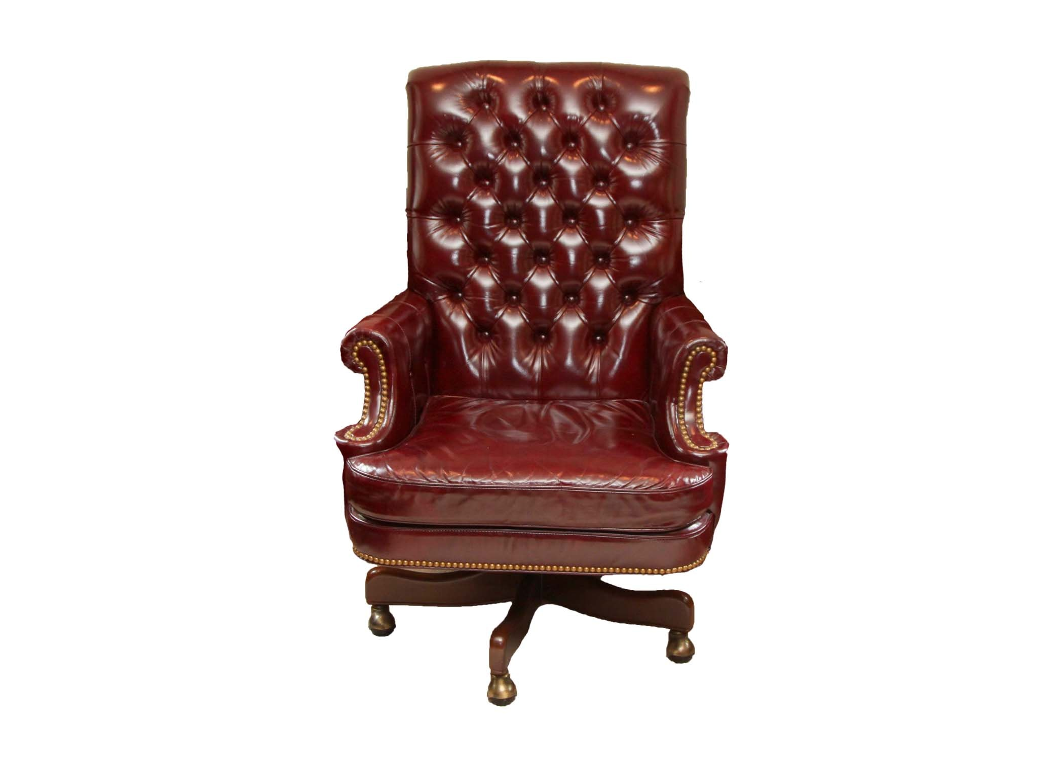 burgundy tufted leather swivel office chair by hancock u0026 moore
