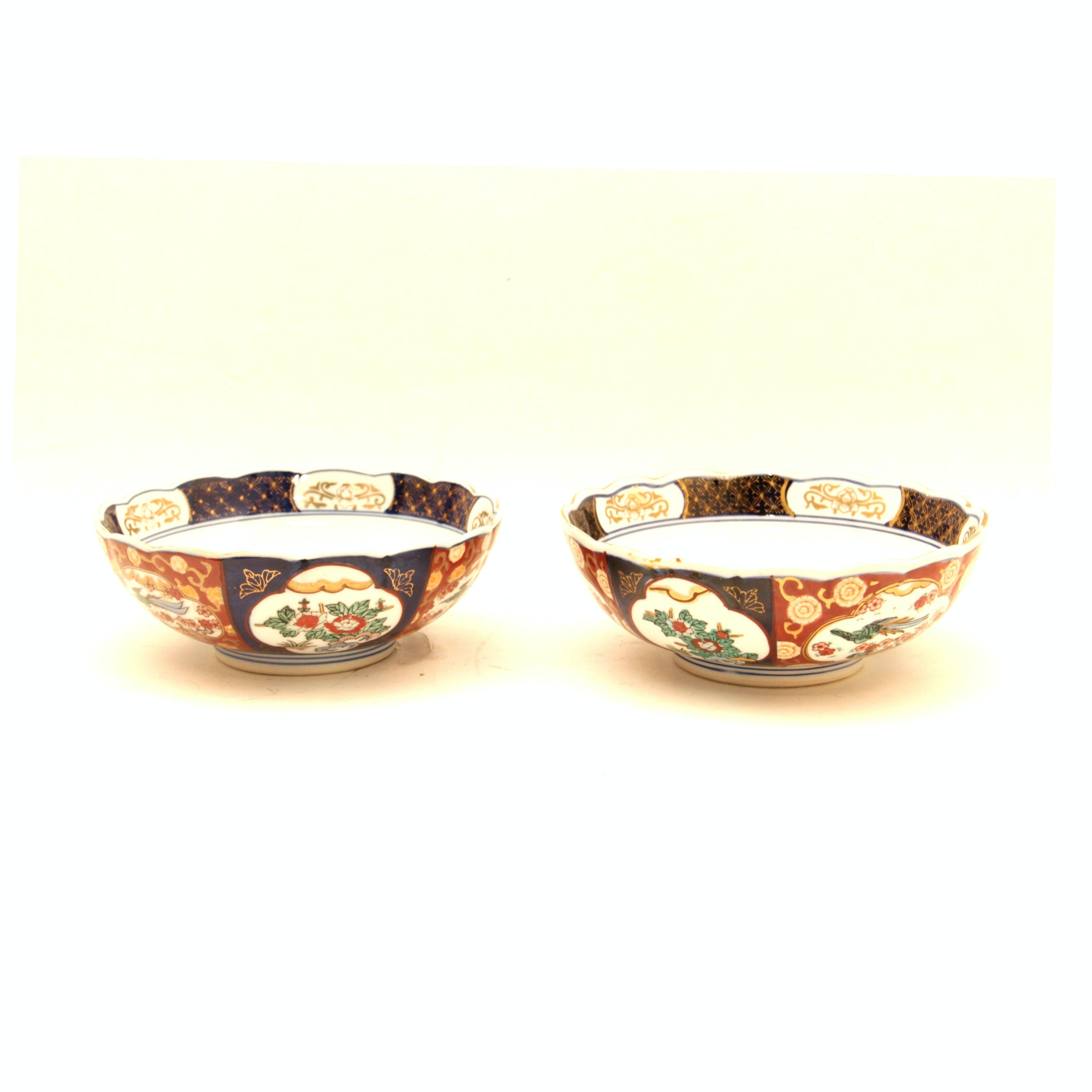 Pair of Hand Painted Gold Imari Bowls