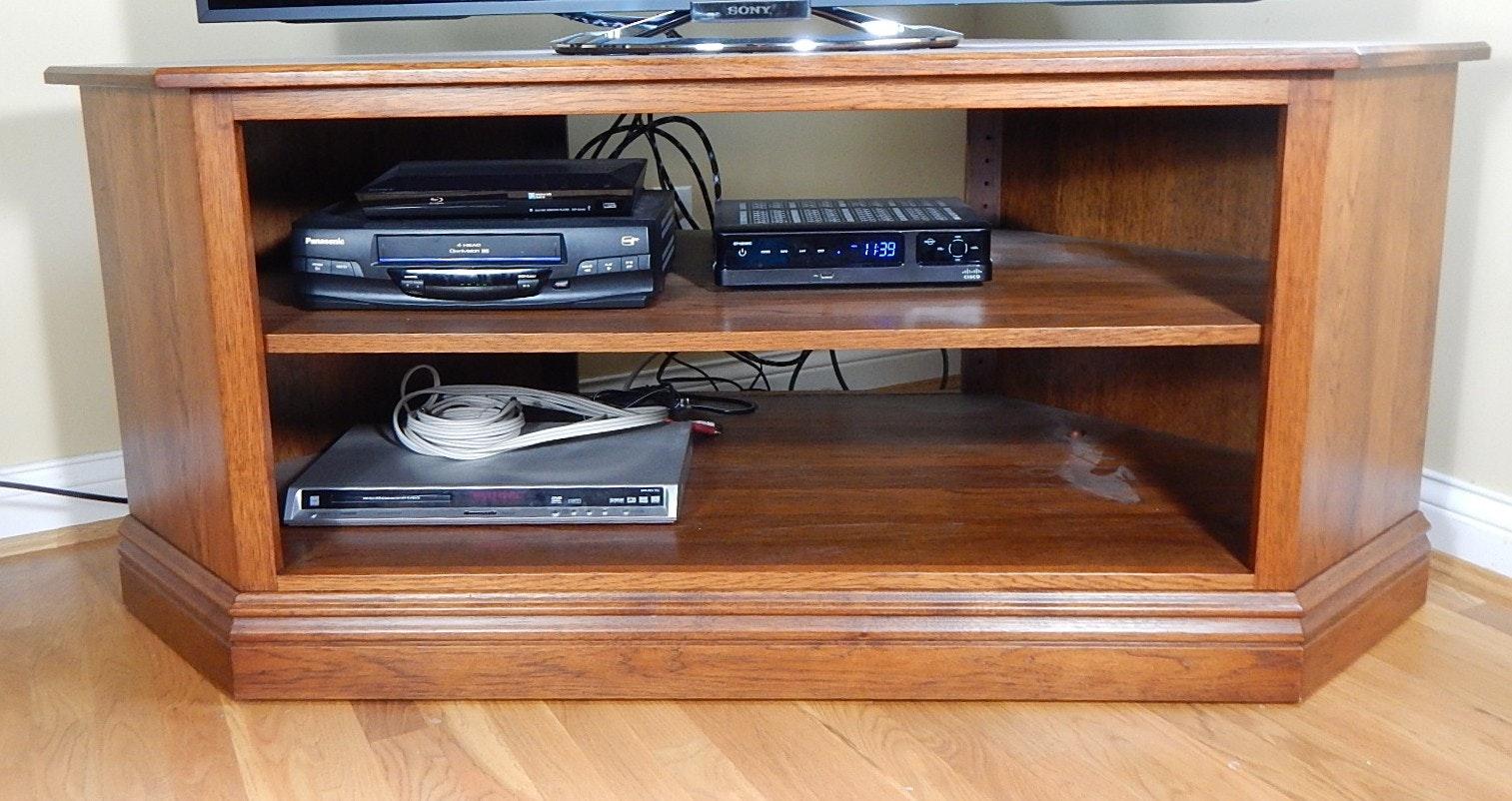 Solid Oak Corner TV Stand