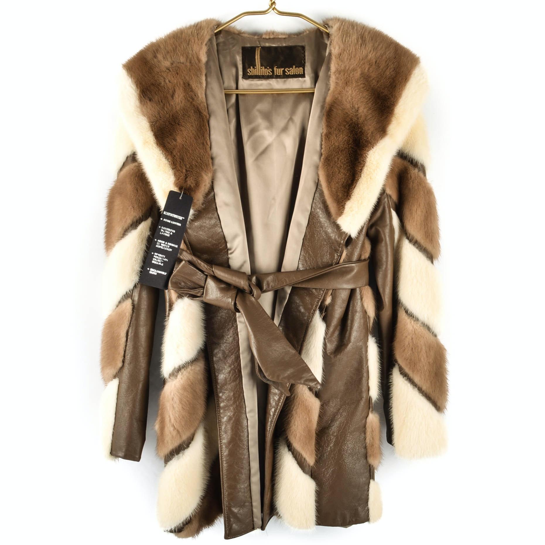 1960s-1970s Shillito's Fur Salon Mink and Leather Women's Coat