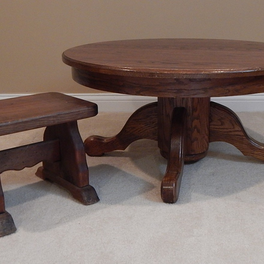 Wondrous Round Oak Coffee Table And Small Pine Bench Unemploymentrelief Wooden Chair Designs For Living Room Unemploymentrelieforg