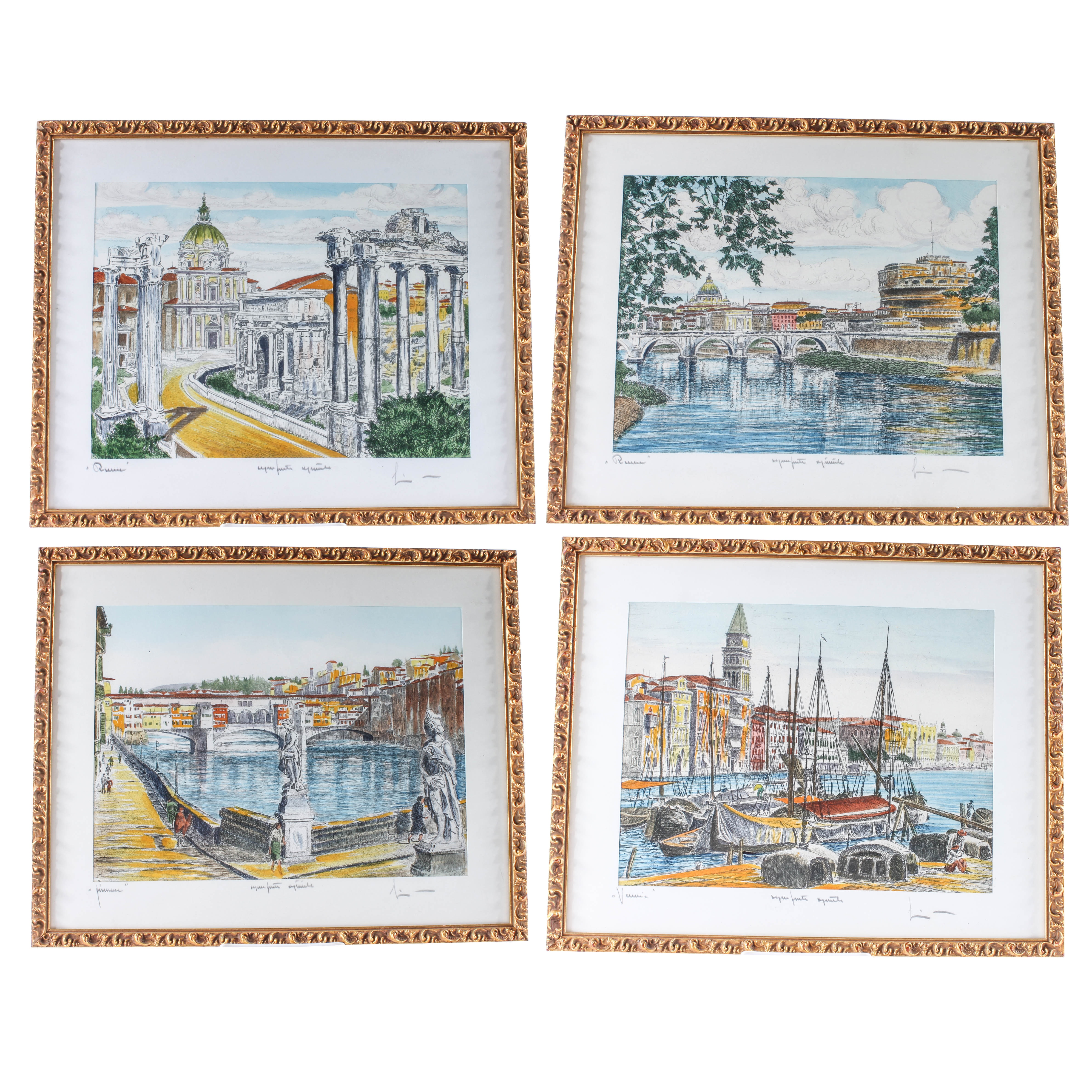 Four Signed Hand-Painted Etchings of European Cityscapes