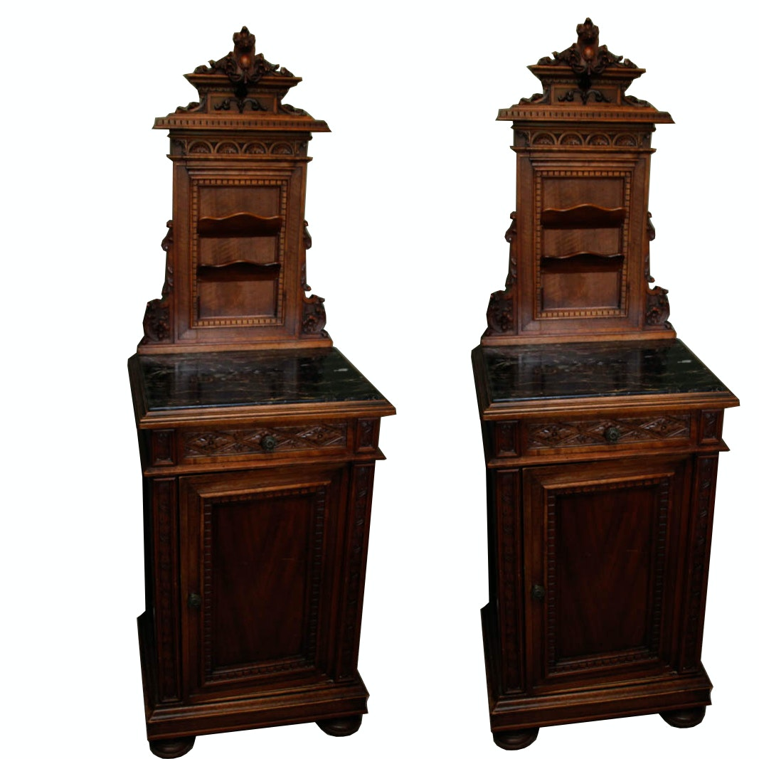 Antique Italian Rococo Revival Style Marble Top Nightstands
