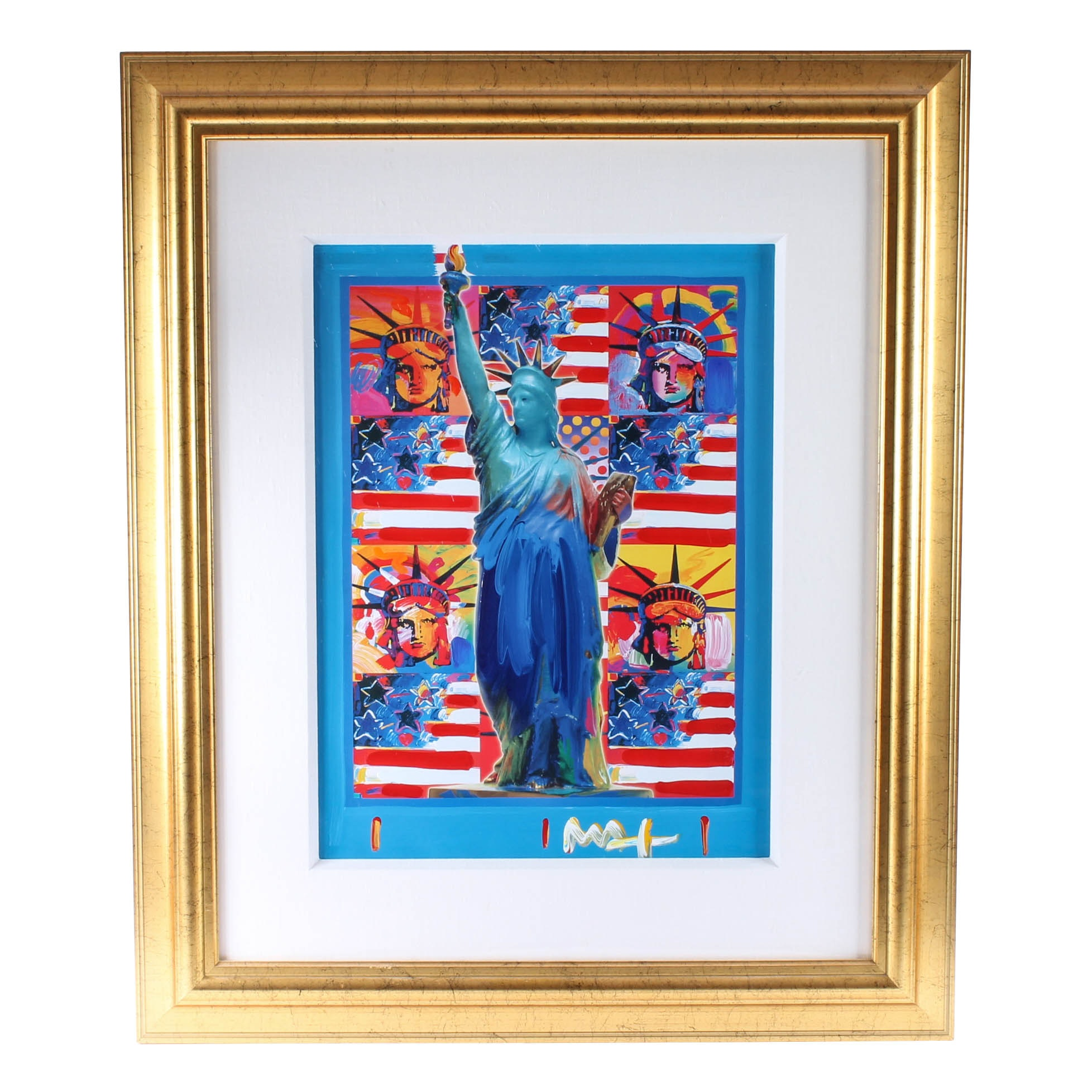 """Peter Max Hand-Embellished Painted Print """"God Bless America - With Five Liberties"""""""