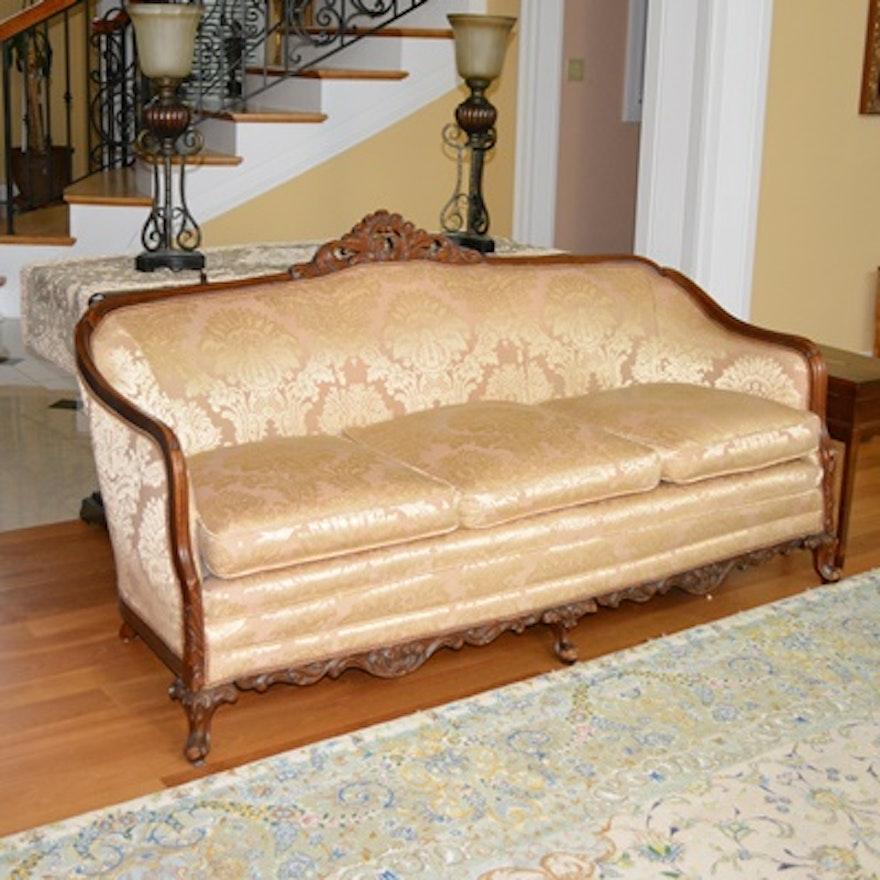 Vintage Upholstered Mahogany Cabriole Sofa