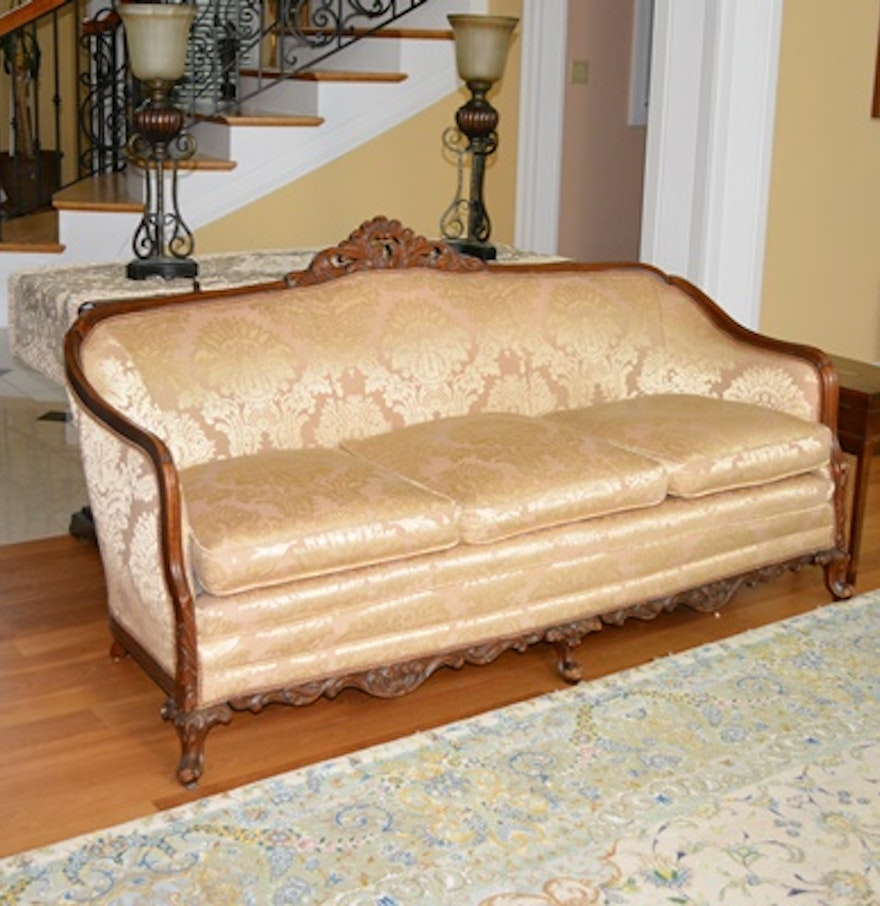 Vintage Upholstered Mahogany Cabriole Sofa Ebth
