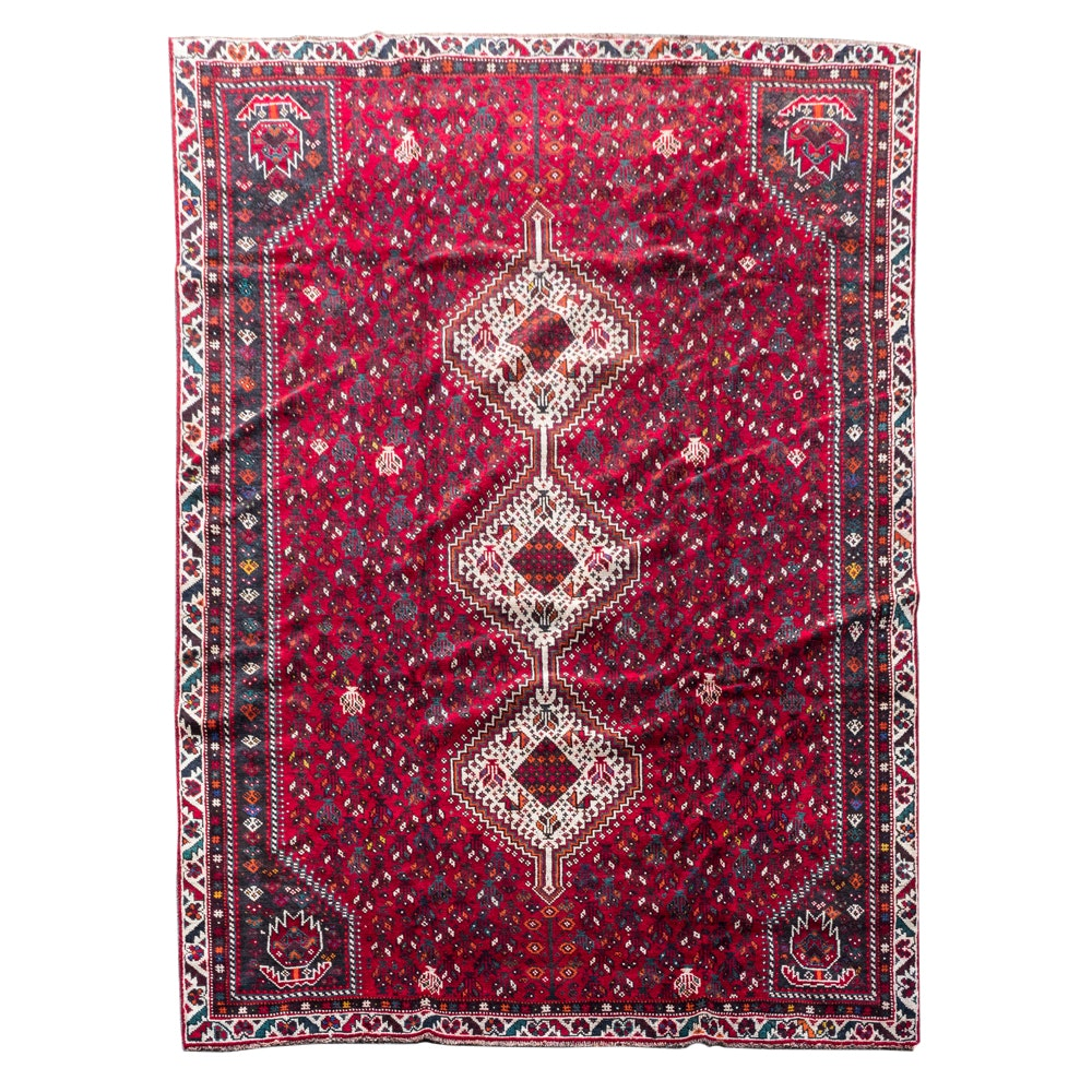 Hand-Woven Central Asian Style Area Rug