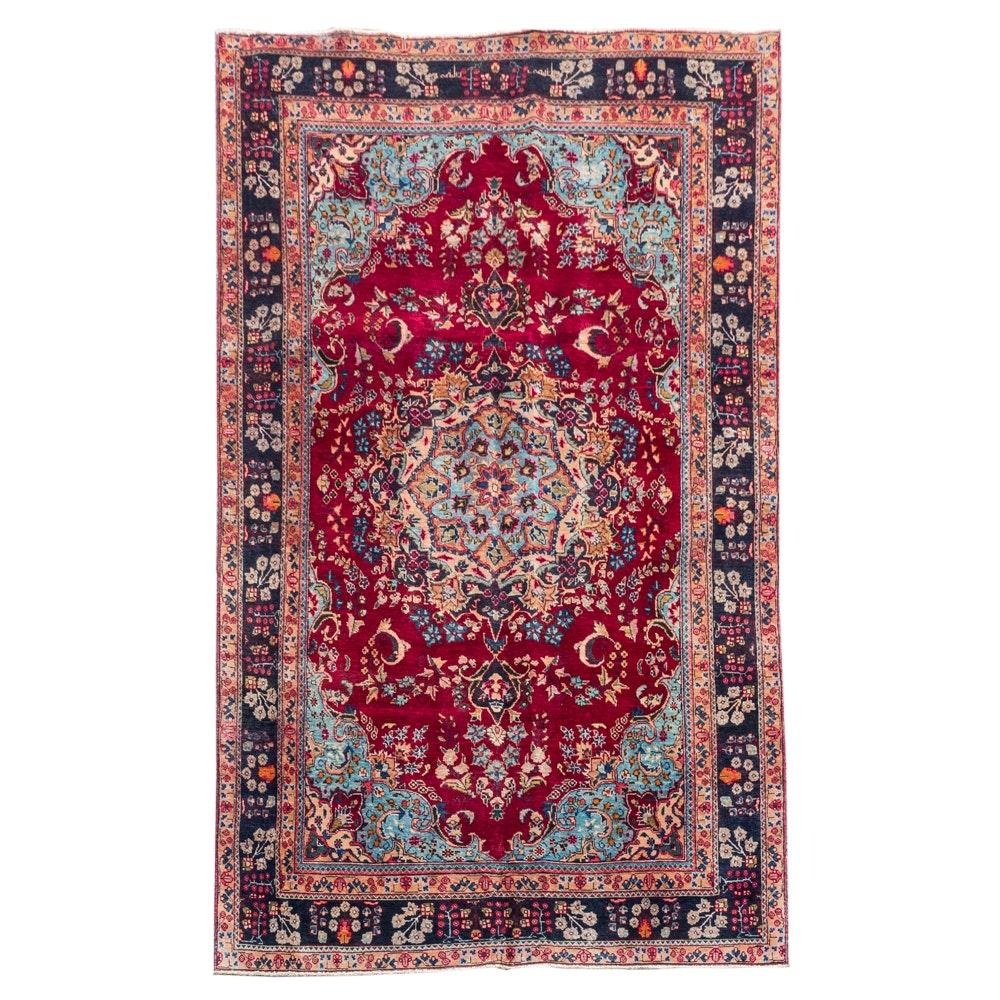 Hand-Woven Persian Sarouk Wool Area Rug