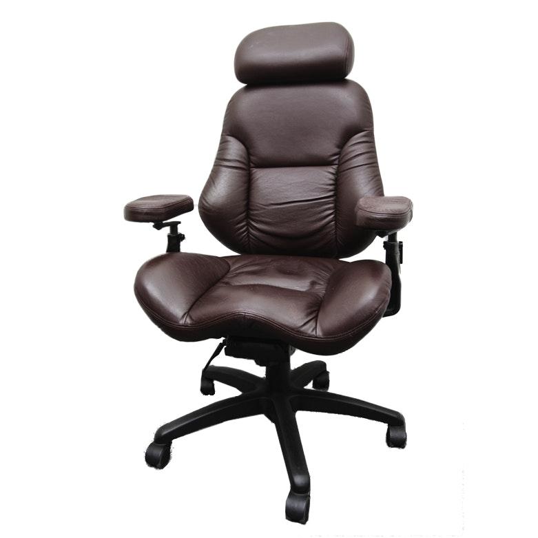 Burgundy Leather Rolling Office Chair By Ergogenesis Ebth