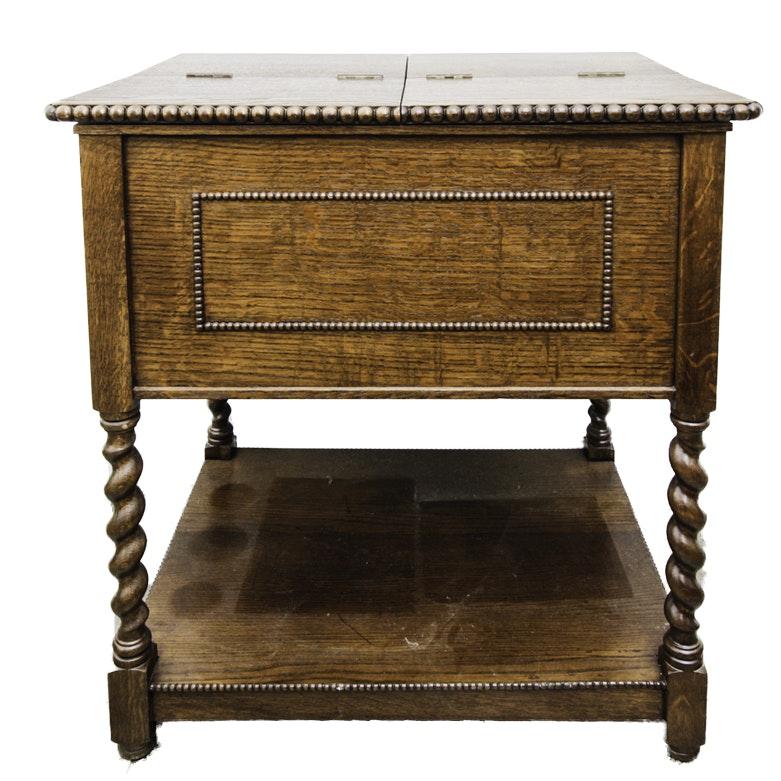 Vintage Jacobean Style Oak Side Cabinet