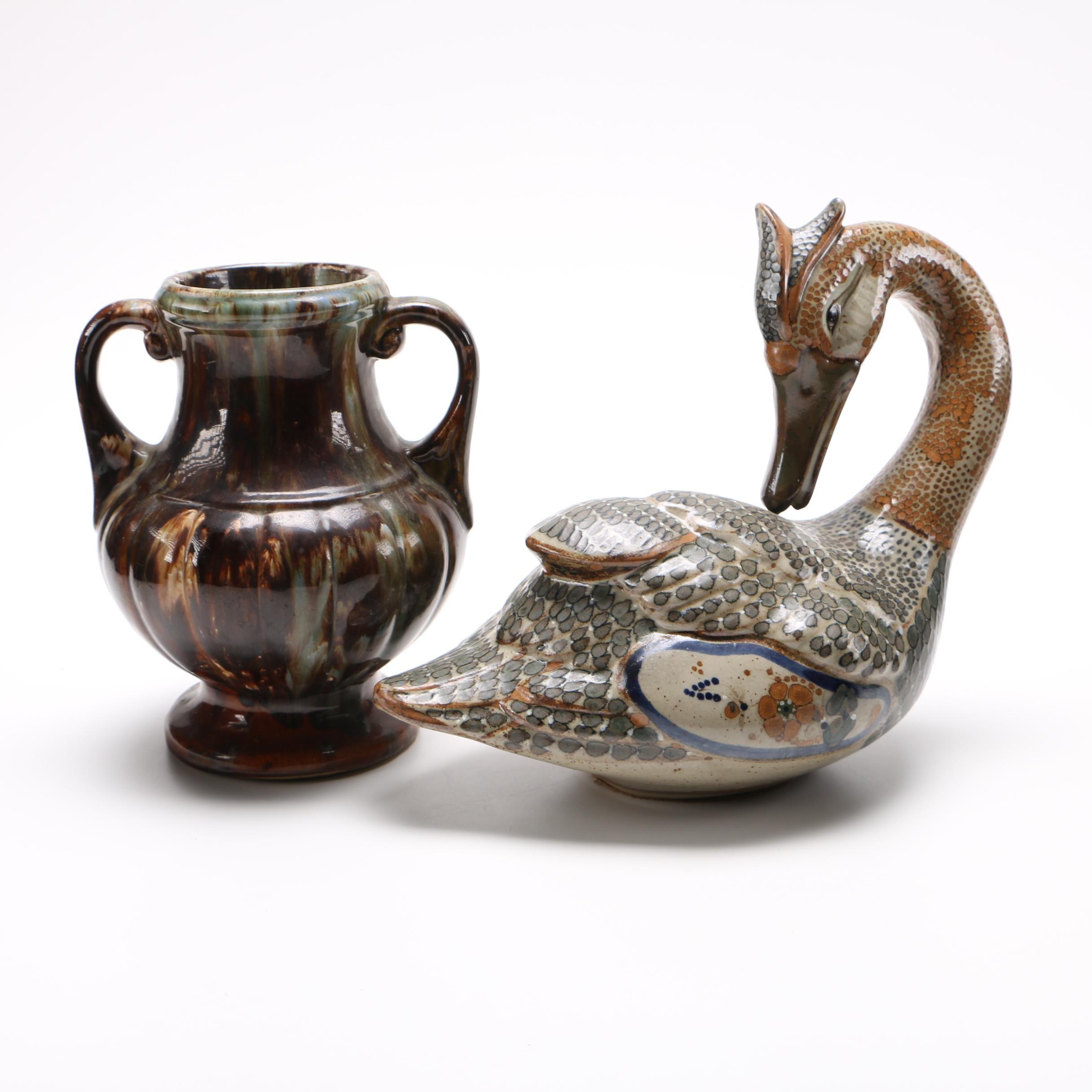 Ceramic Vase and Goose