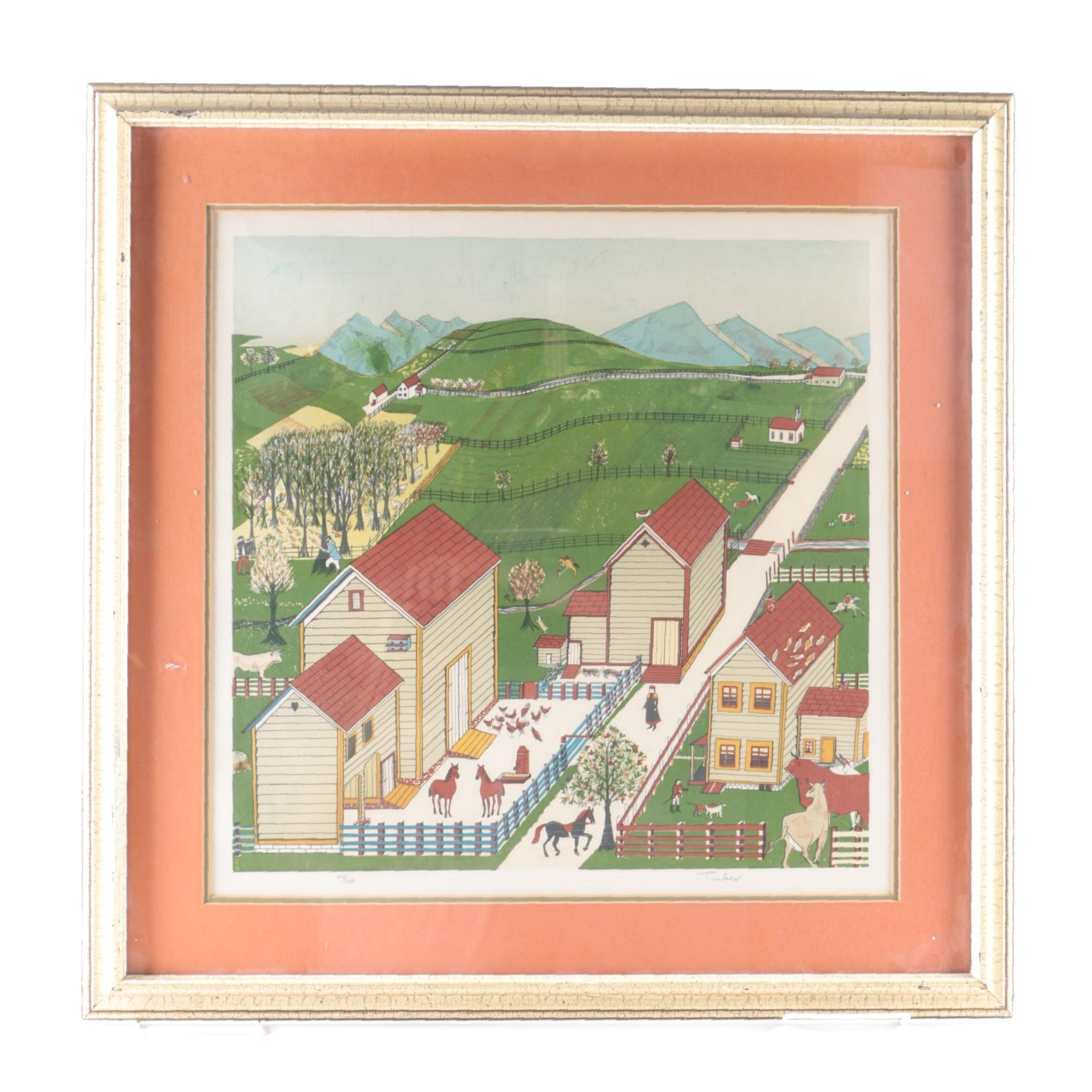 """Tucker Limited Edition Lithograph on Paper After Painting """"Mahantango Valley Farm"""""""